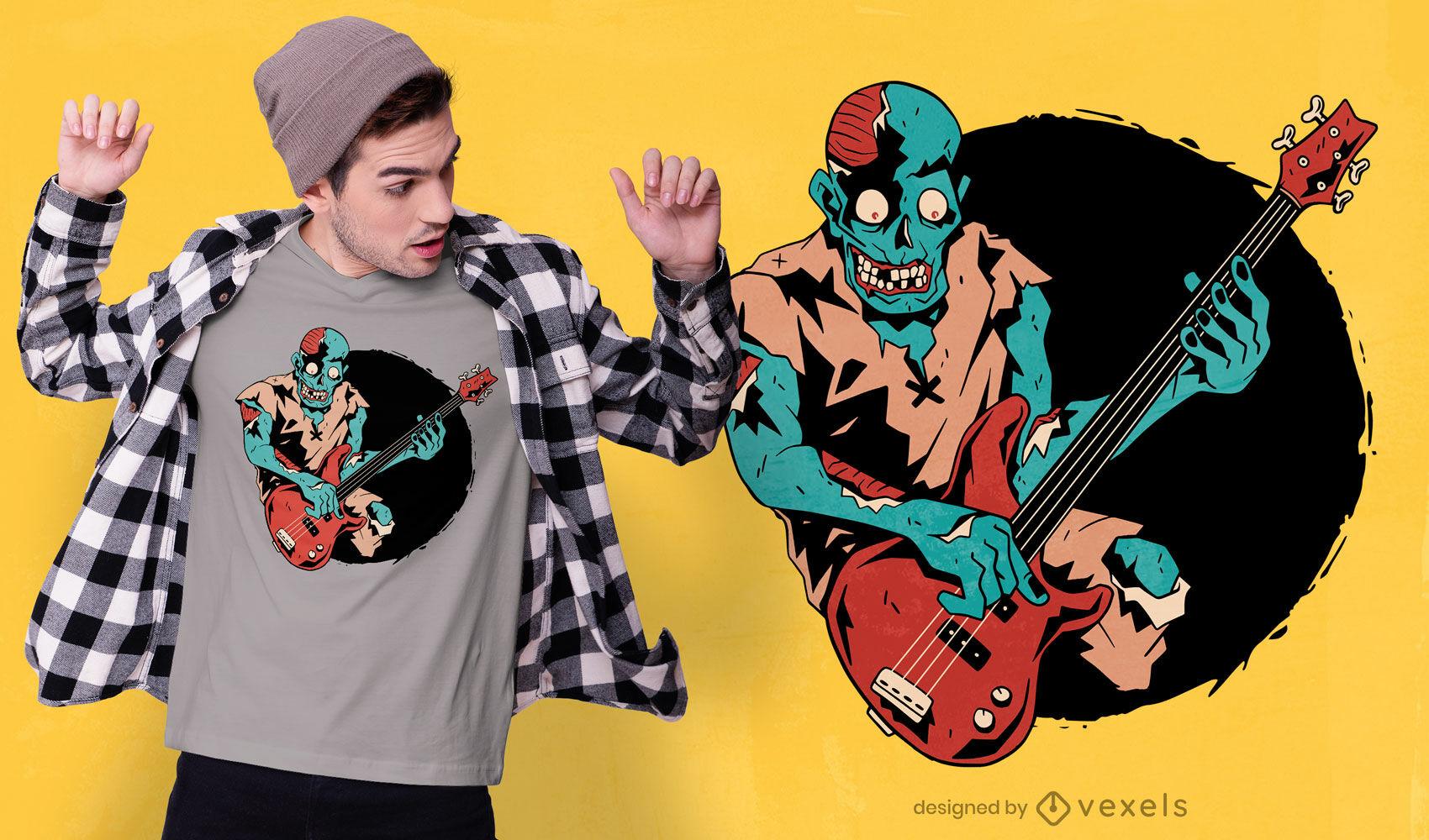Diseño de camiseta de músico de bajista zombie.
