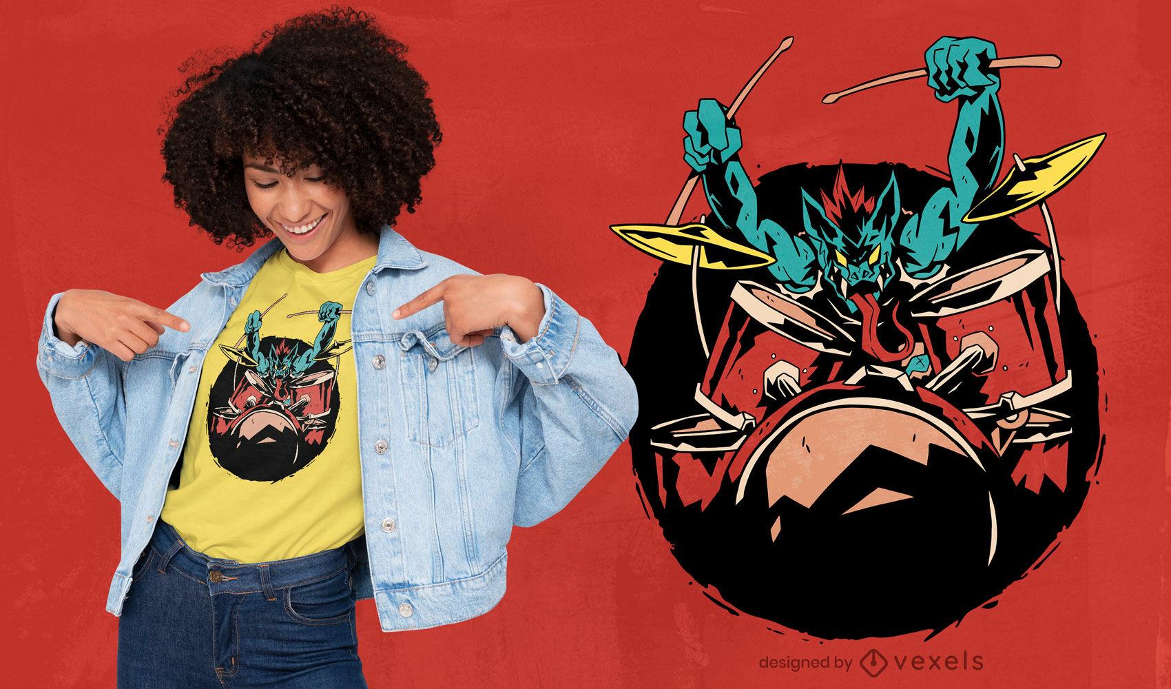 Vampir Drum Player Musiker T-Shirt Design