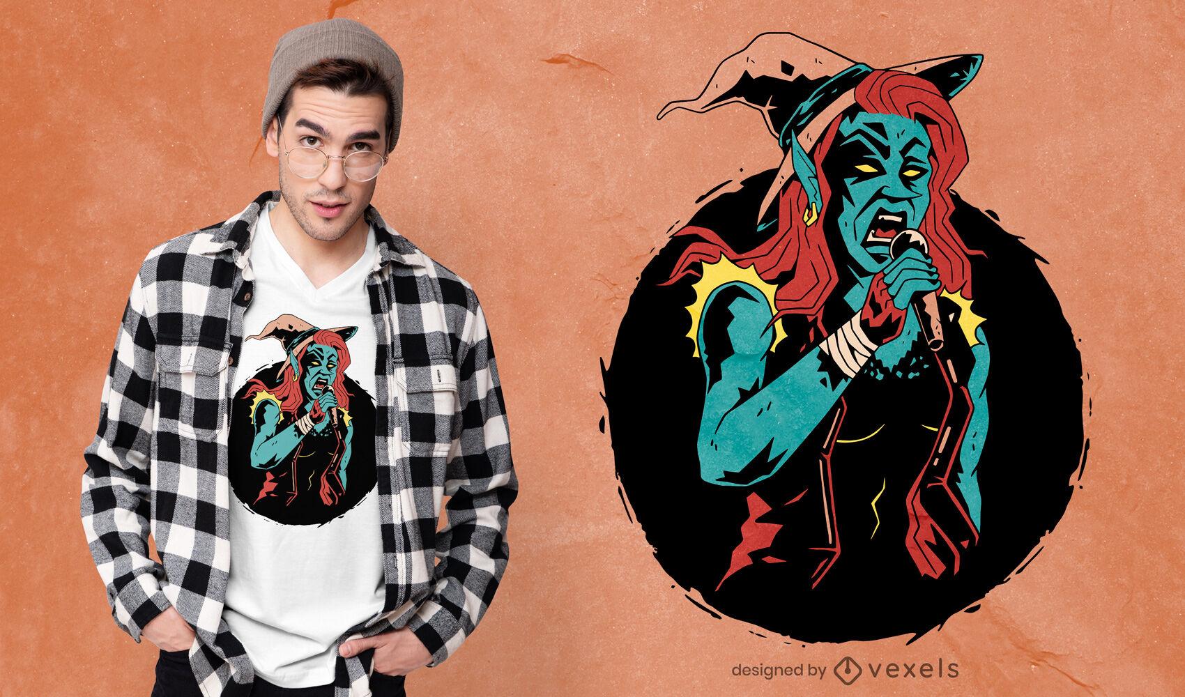 Design de camisetas de músico e cantora de bruxa
