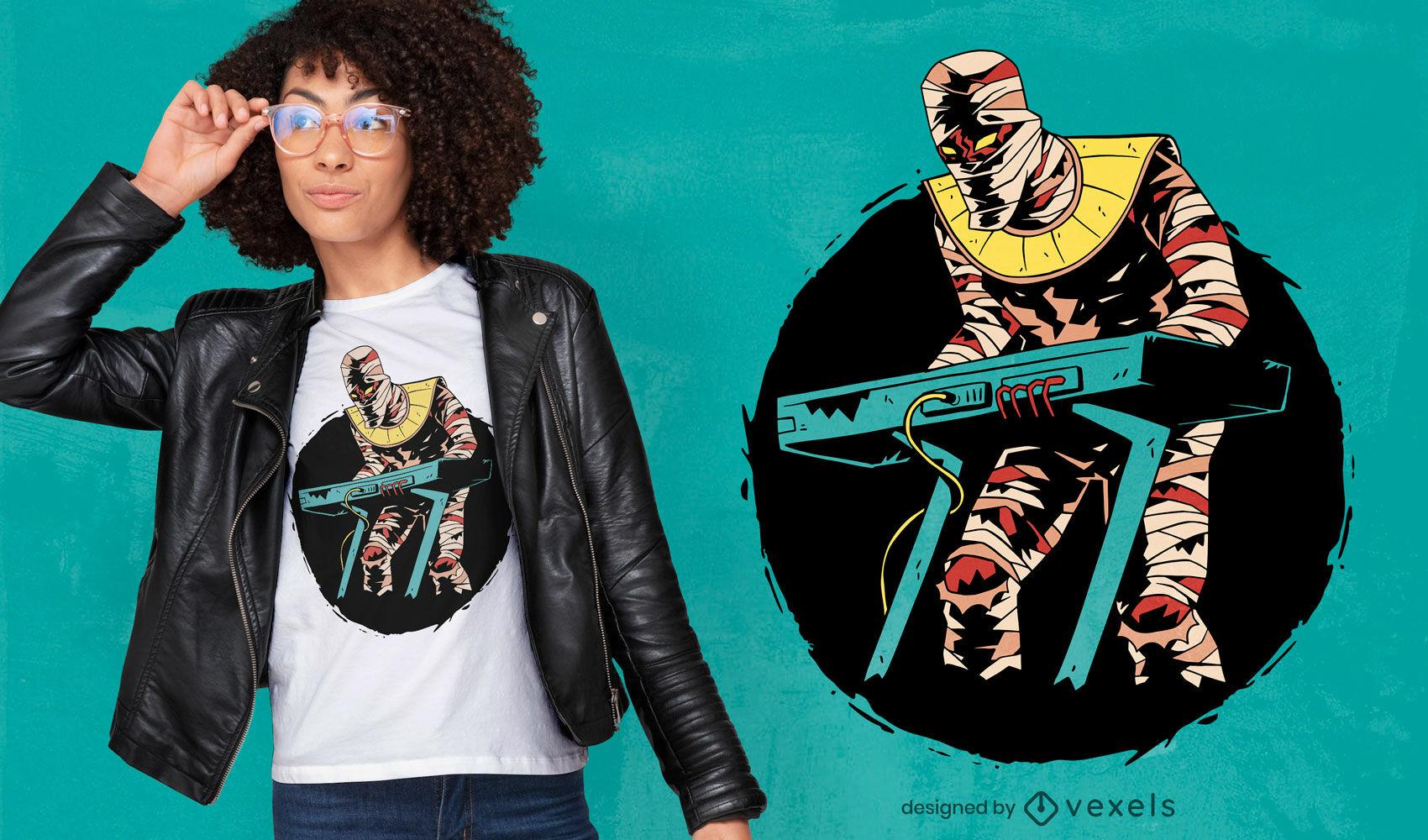 Diseño de camiseta de teclado de momia tocando