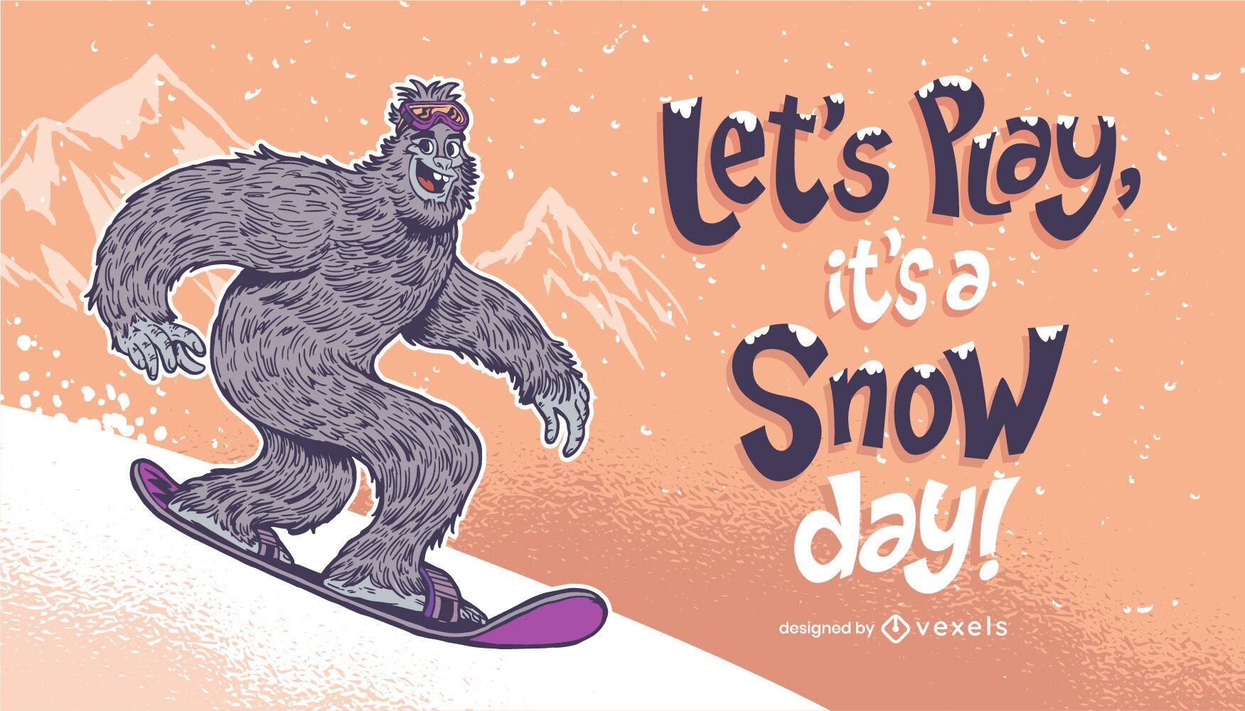 Snow monster snowboarding illustration