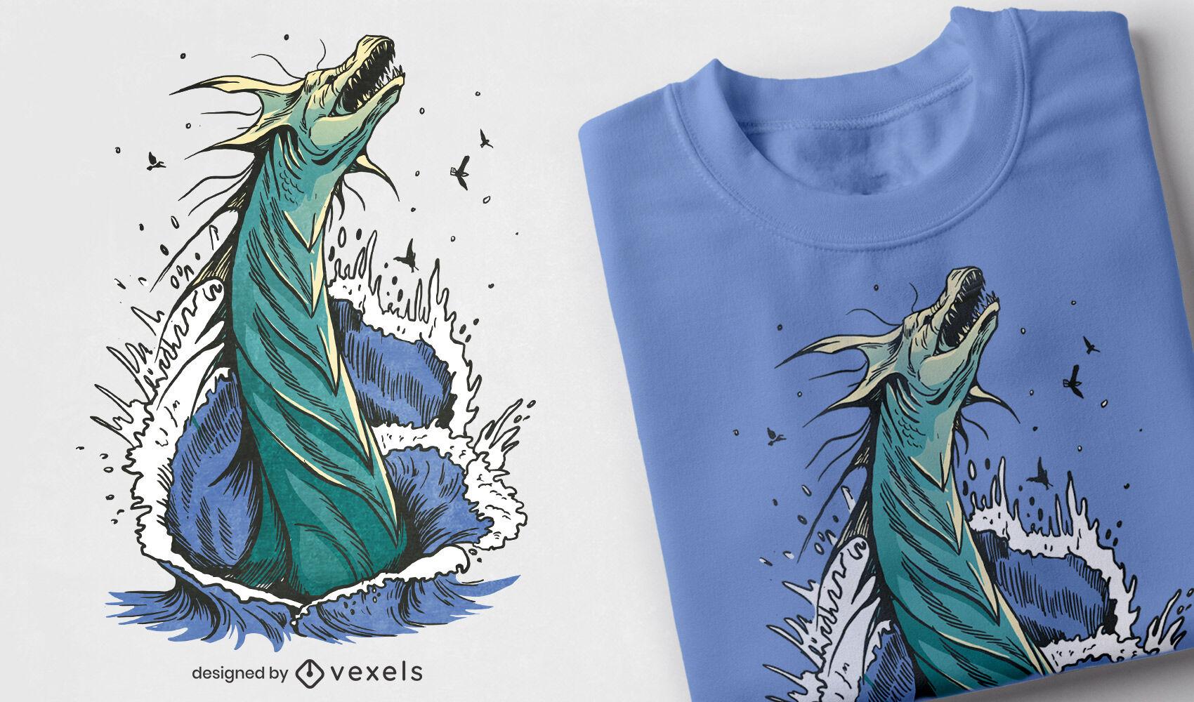 Diseño de camiseta de criatura marina Leviatán.