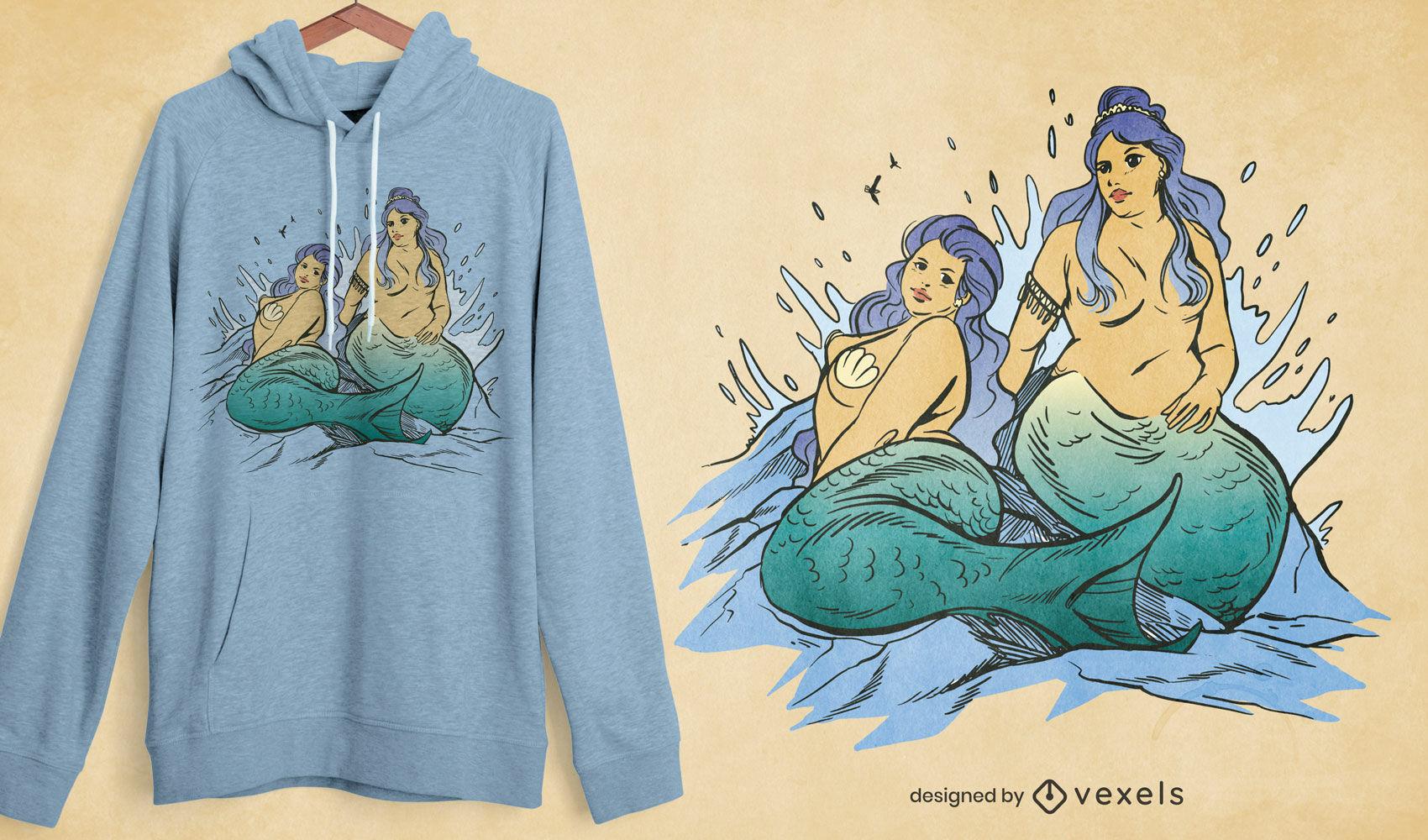 Diseño de camiseta de sirenas mitológicas de talla grande.