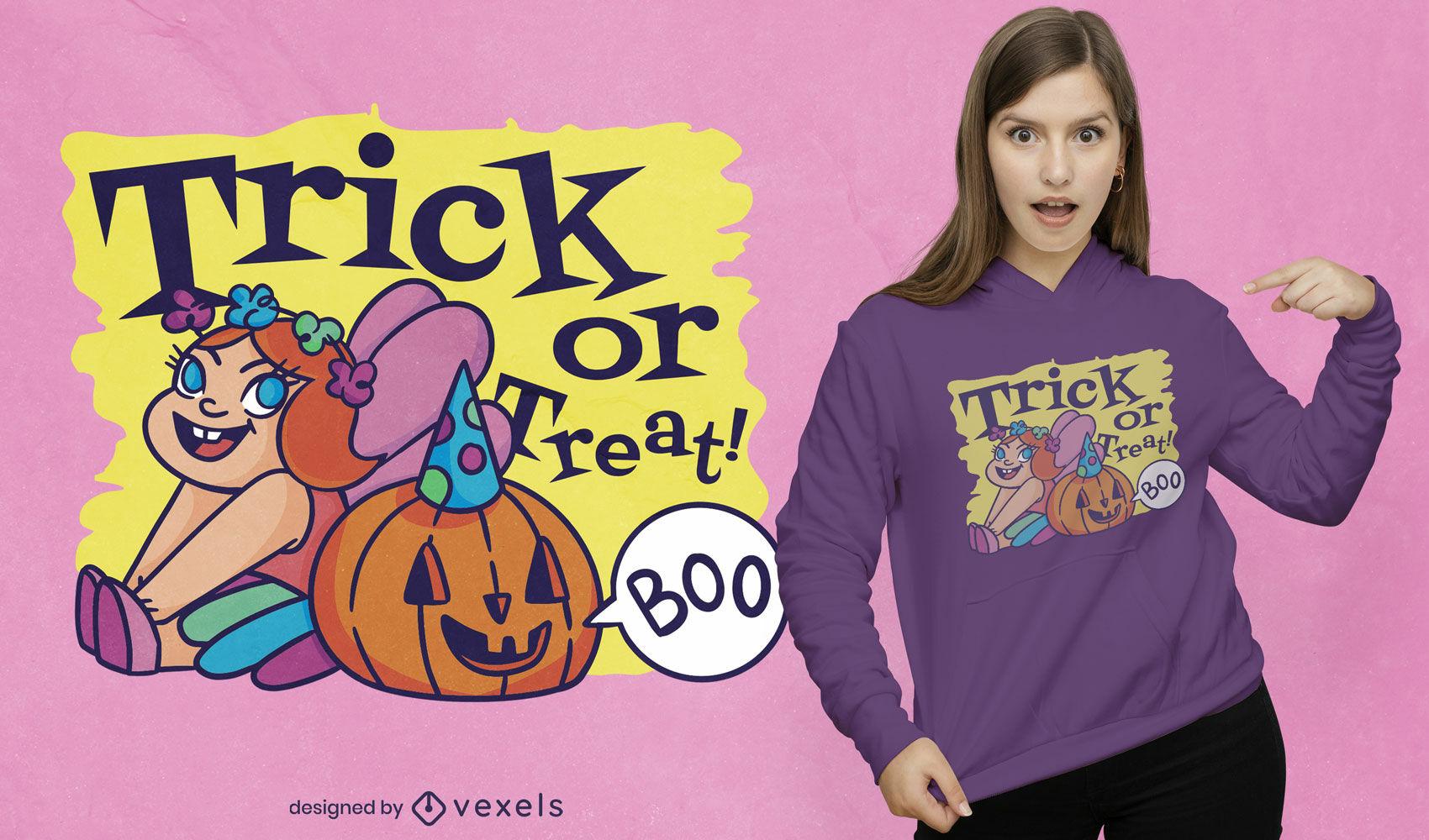 Diseño de camiseta de halloween de niña en traje de hadas