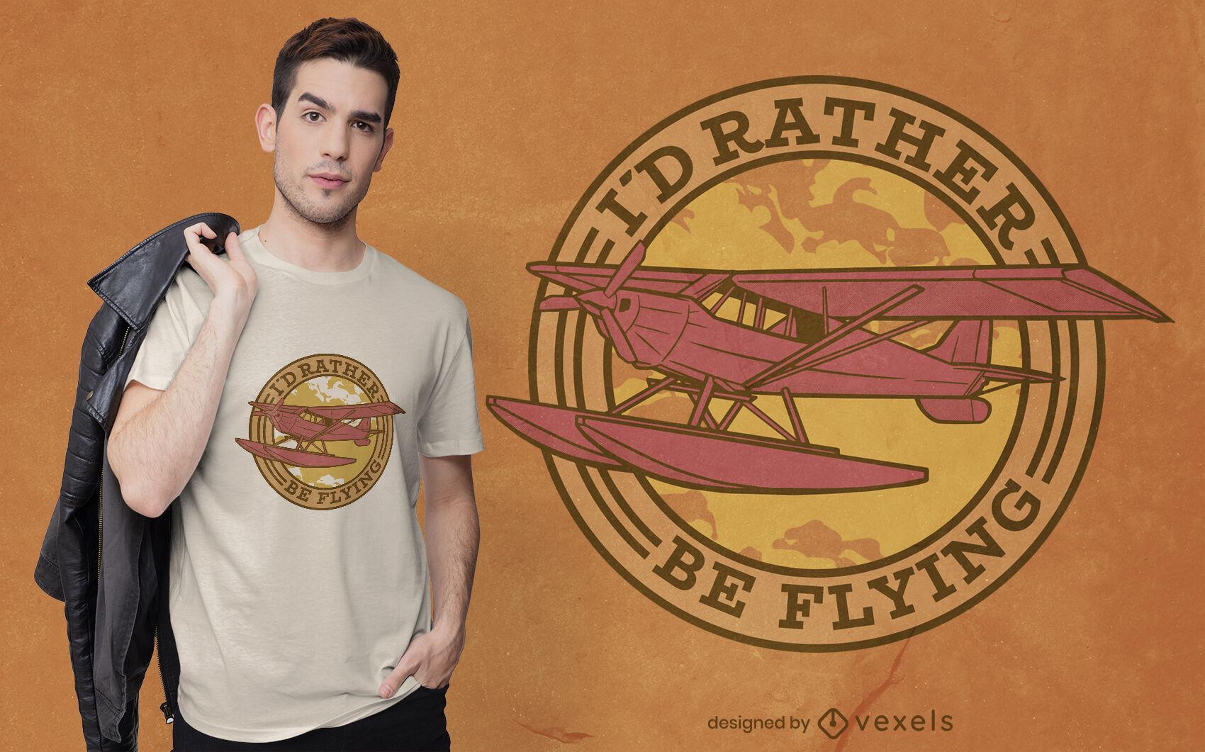 Airplane flying badge t-shirt design