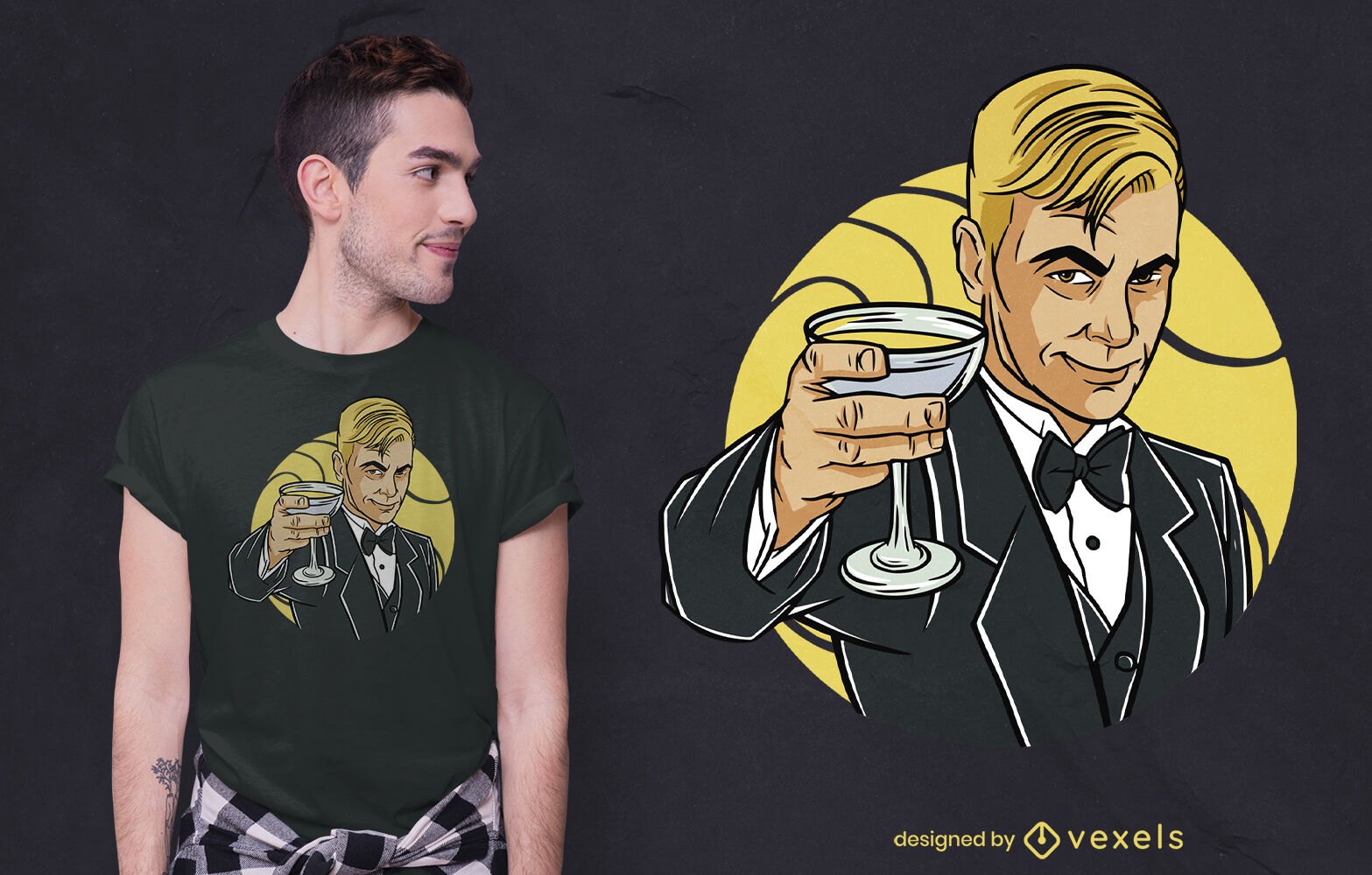 Fancy man toasting glass t-shirt design