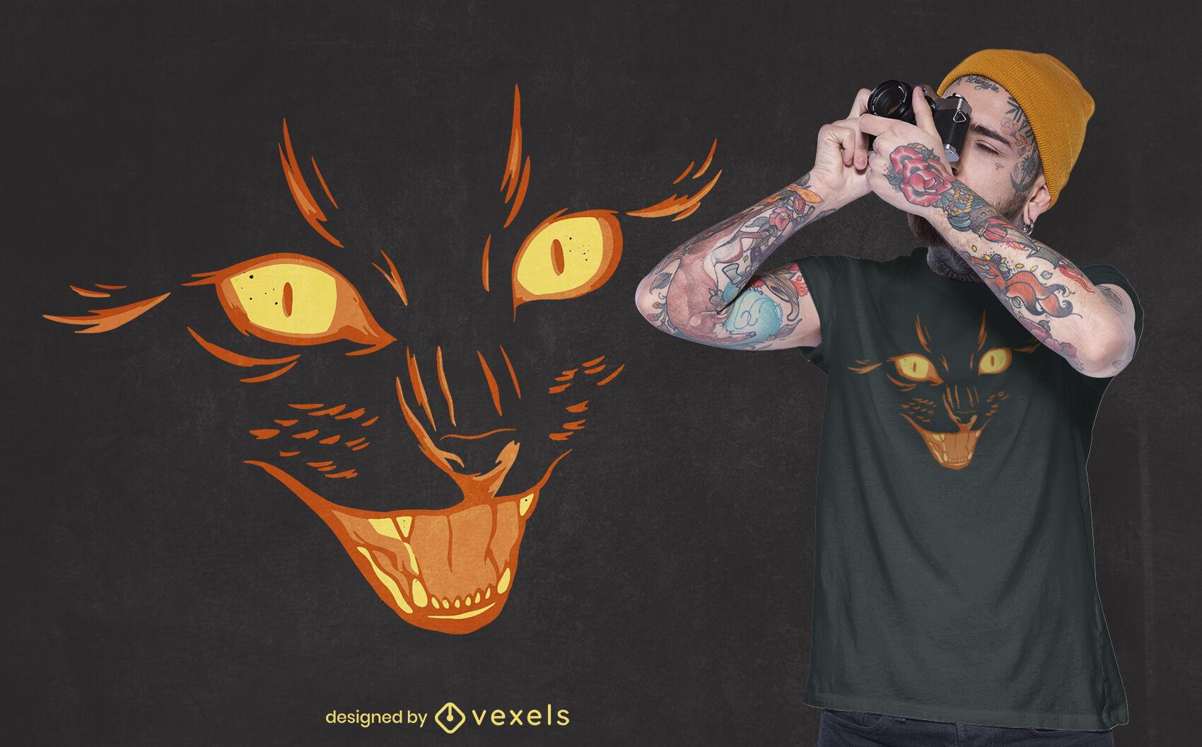 Schwarzes Halloween-T-Shirt mit Katzengesicht