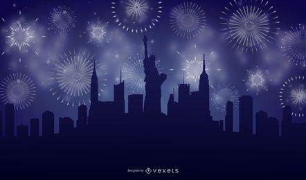 Fundo de fogos de artifício do horizonte da cidade de Nova York