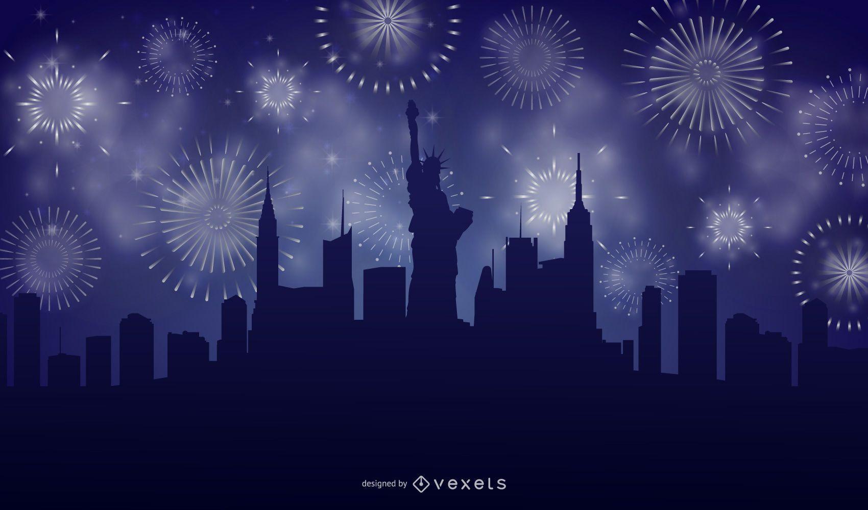 New York City Skyline Firework Background
