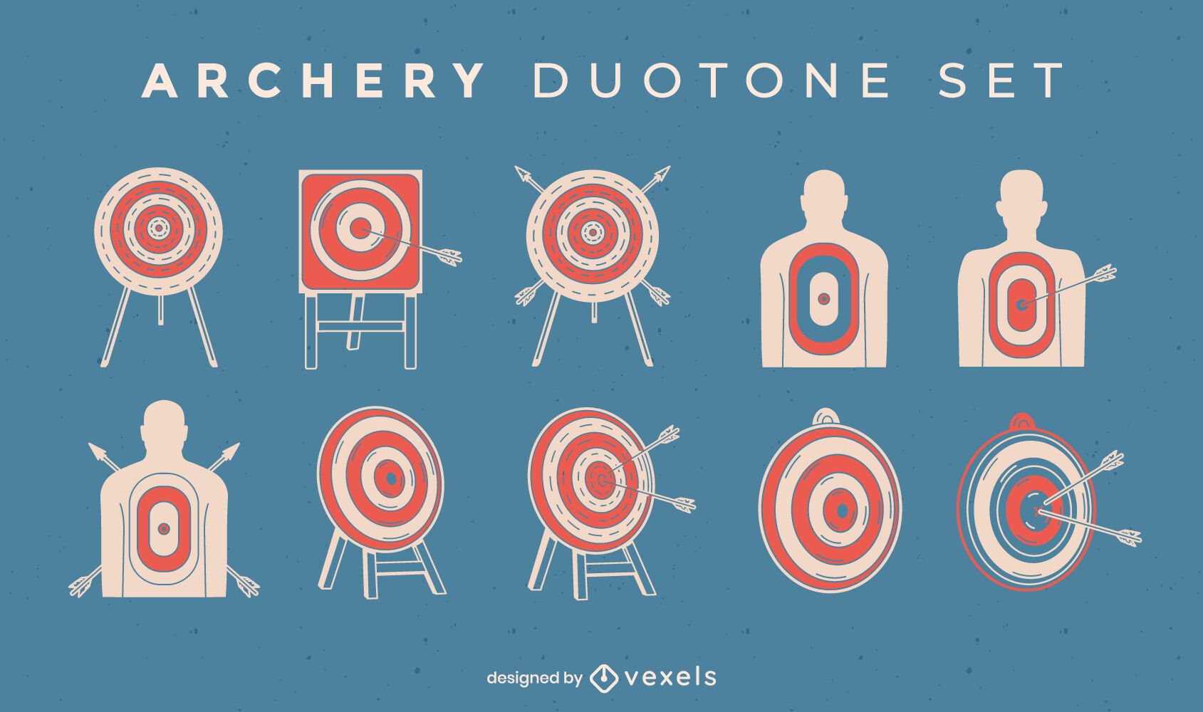 Archery targets and arrows duotone set
