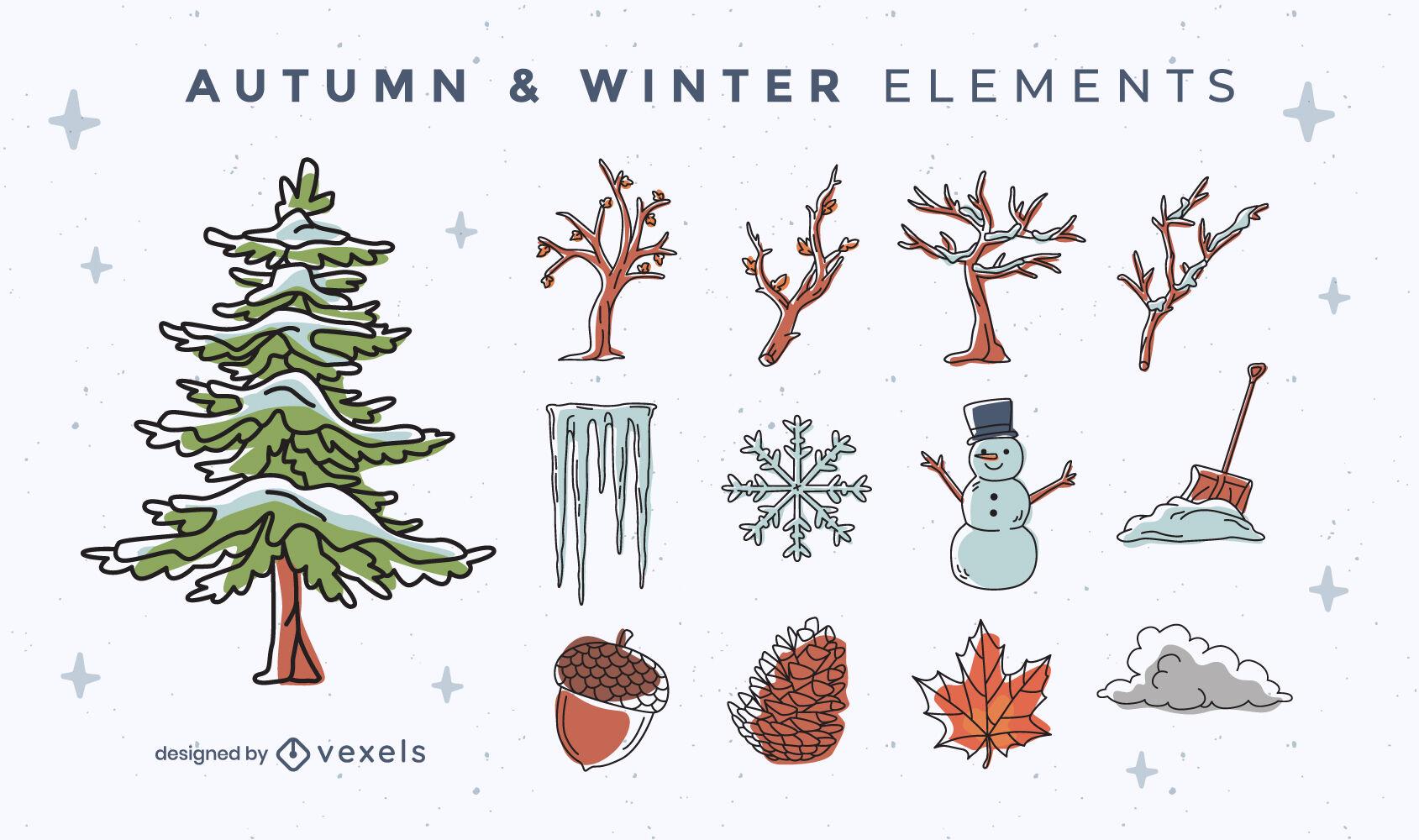 Conjunto de elementos de invierno y otoño.