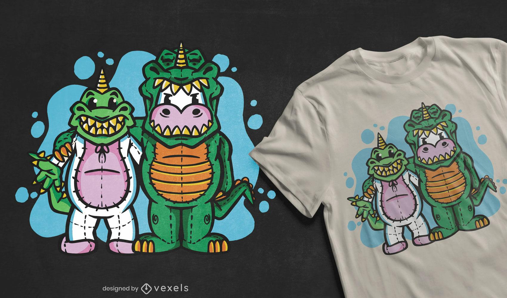 Dinosaur and unicorn costumes t-shirt design