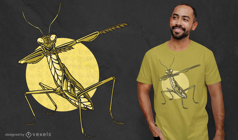Diseño de camiseta de dabbing de insectos Mantis.