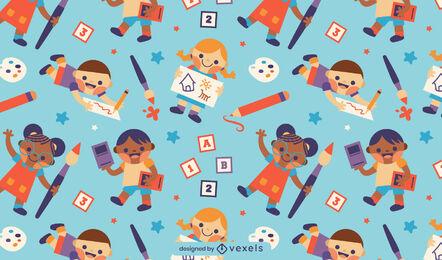 Diseño lindo del patrón de los niños de la escuela