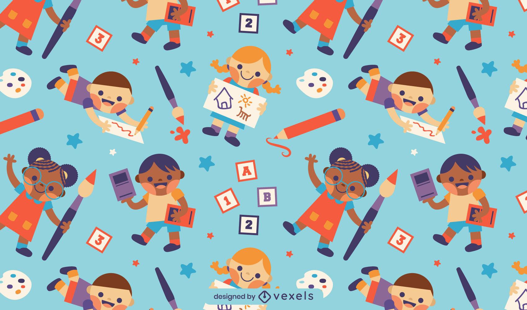 Desenho de padrão fofo para crianças em idade escolar
