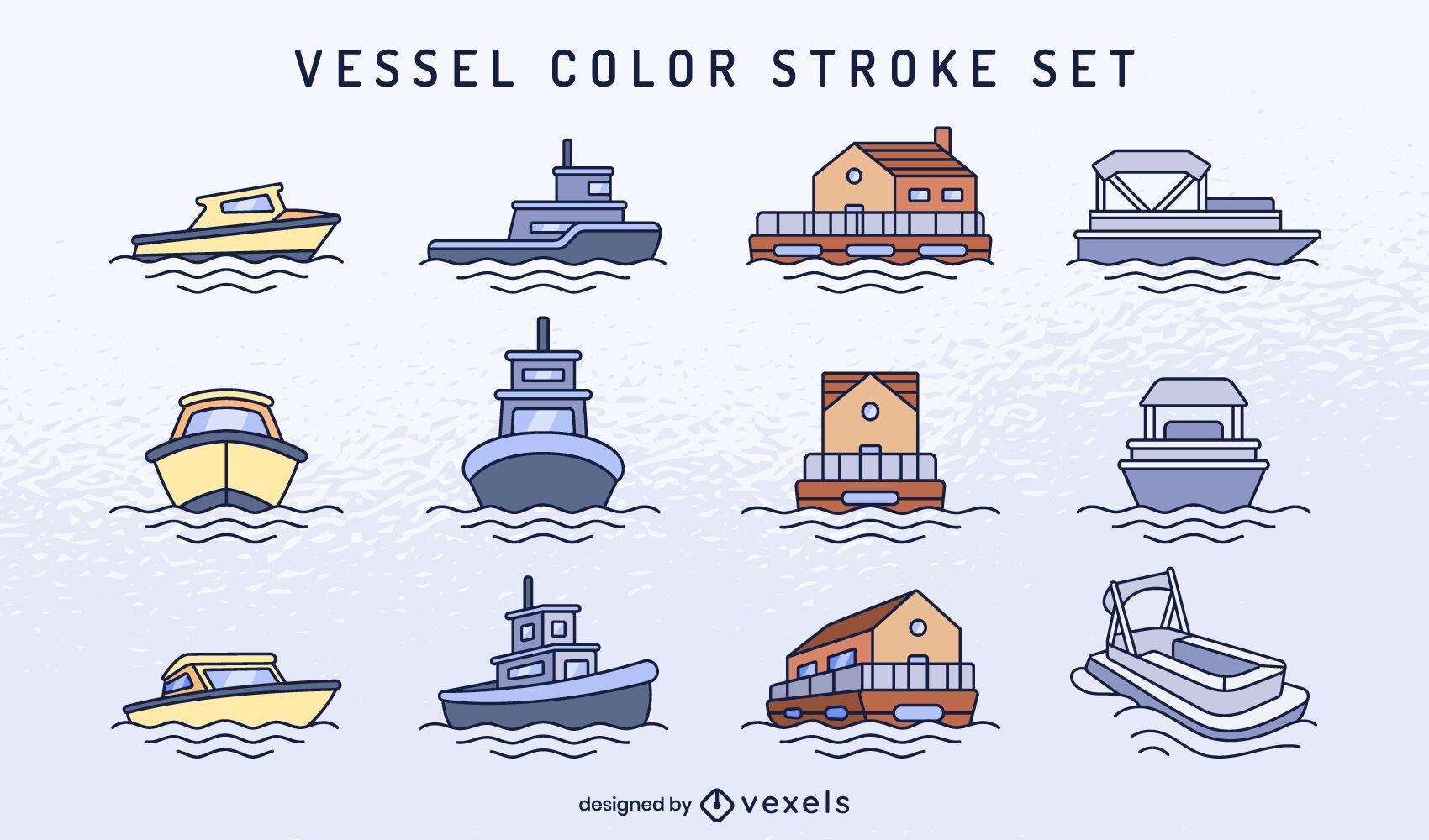 Conjunto de trazo de color de barcos y embarcaciones.