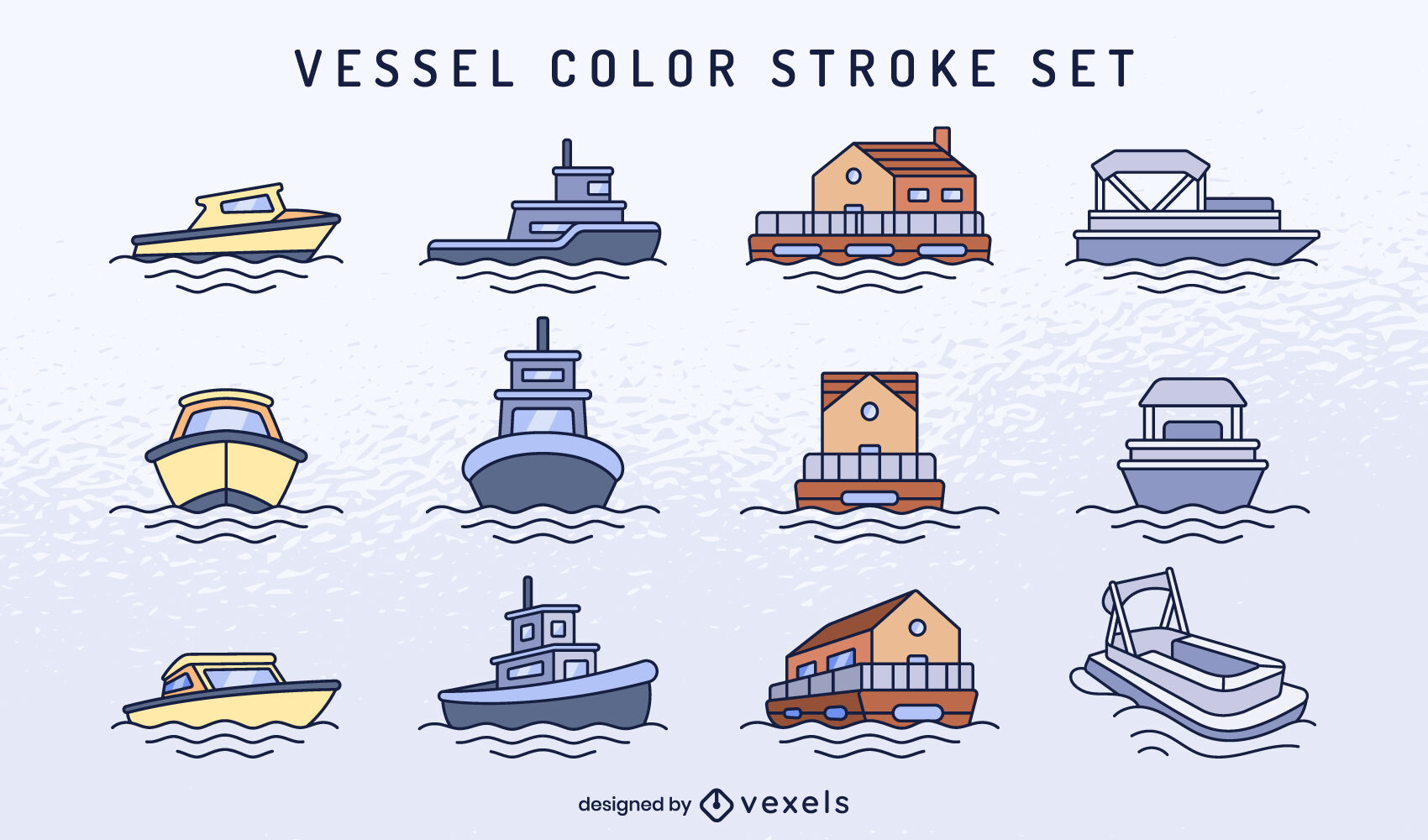 Set of boats and vessels color stroke