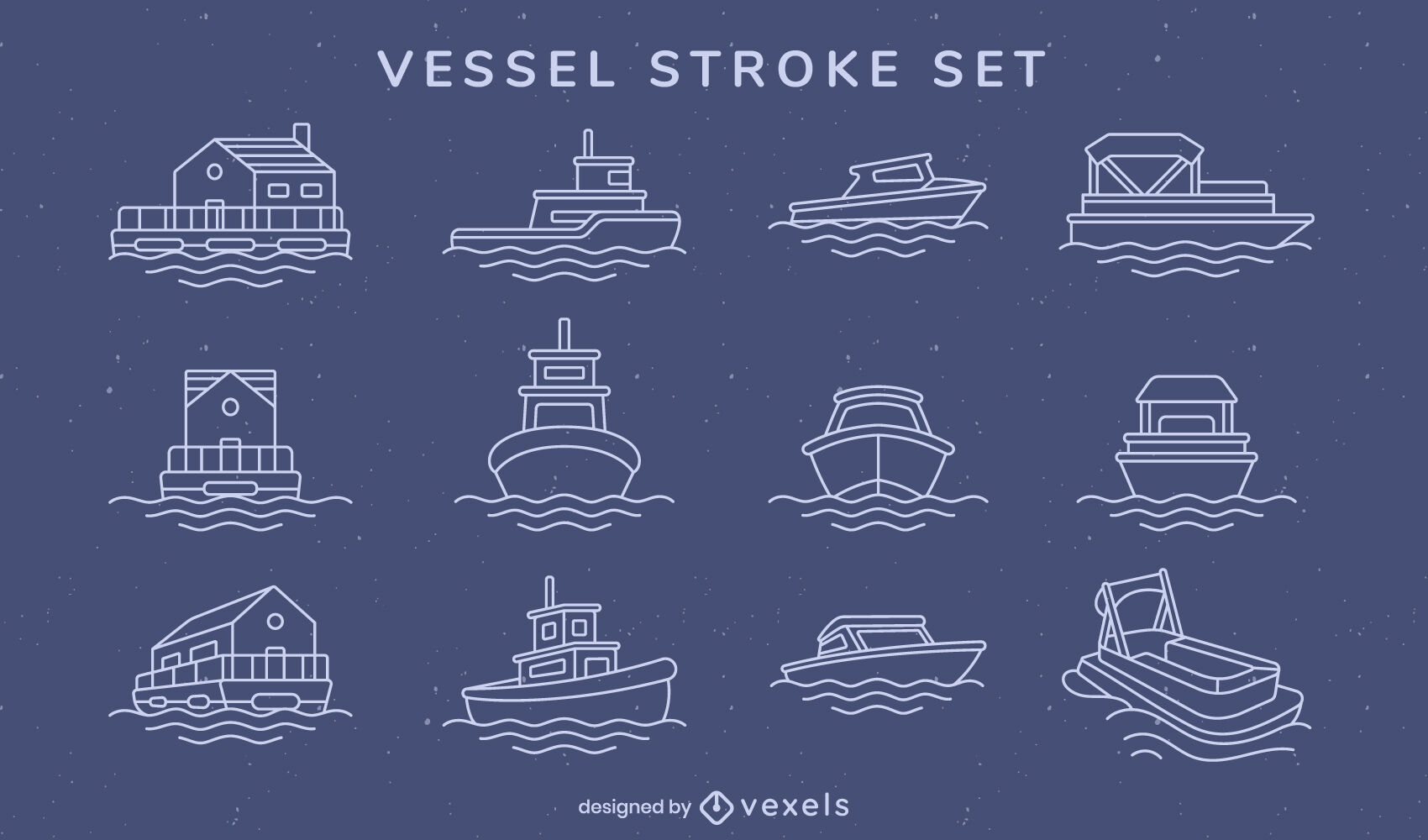 Set of boats and vessels stroke