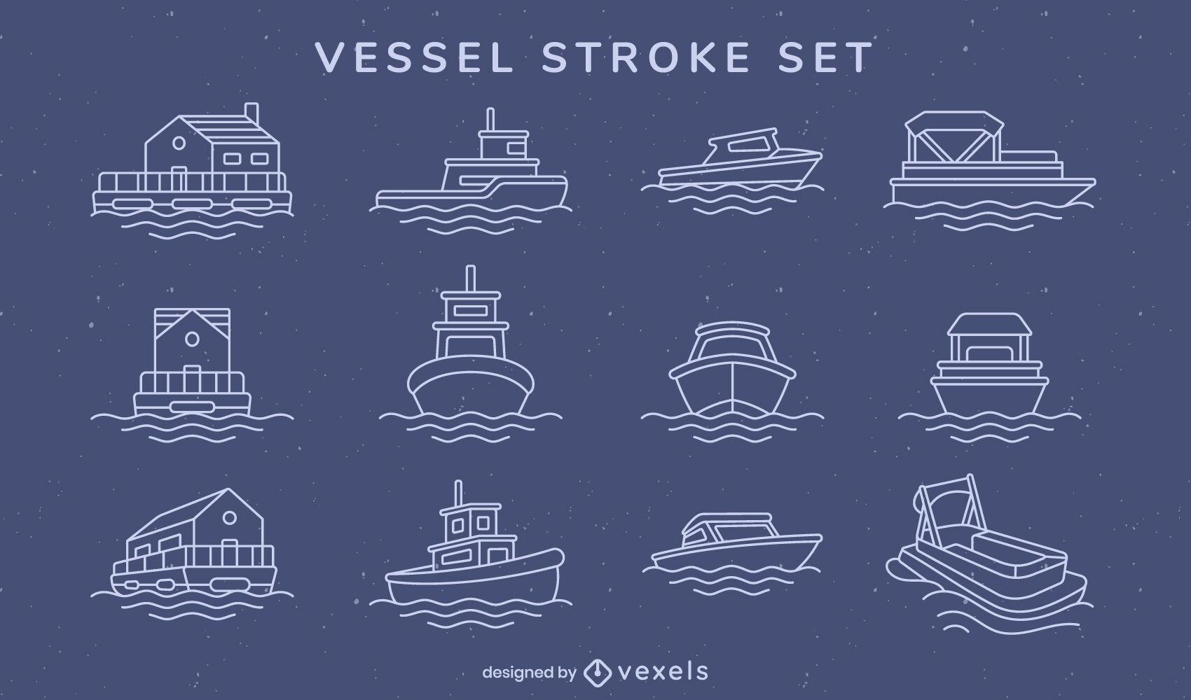 Set von Booten und Gefäßen Schlaganfall