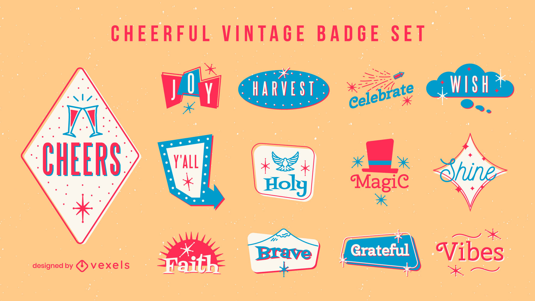 Cheerful vintage badges and quotes set