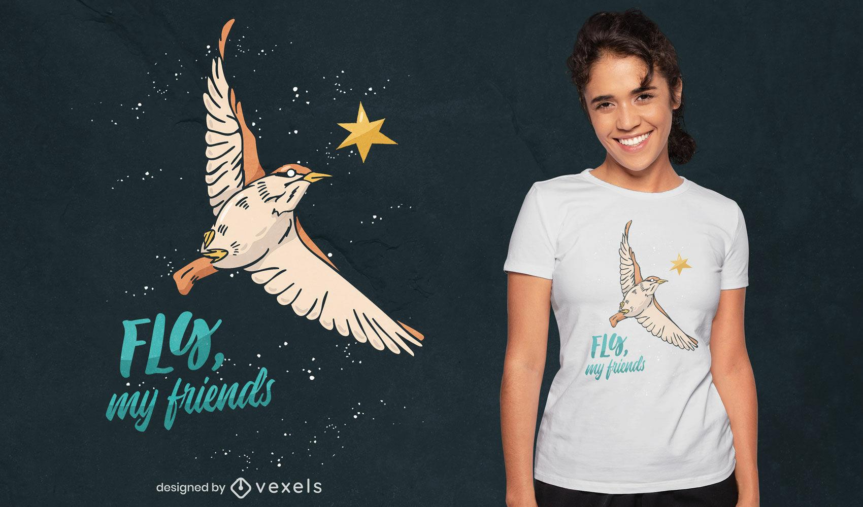 Pájaro volando en el diseño de la camiseta del cielo nocturno