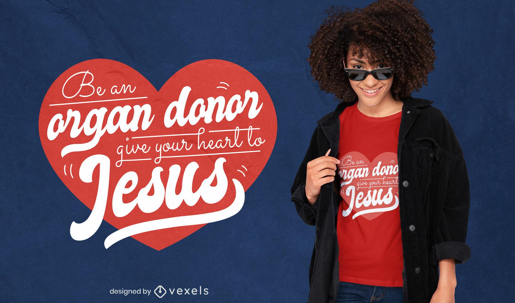 Diseño de camiseta lindo donante de corazón de Jesús