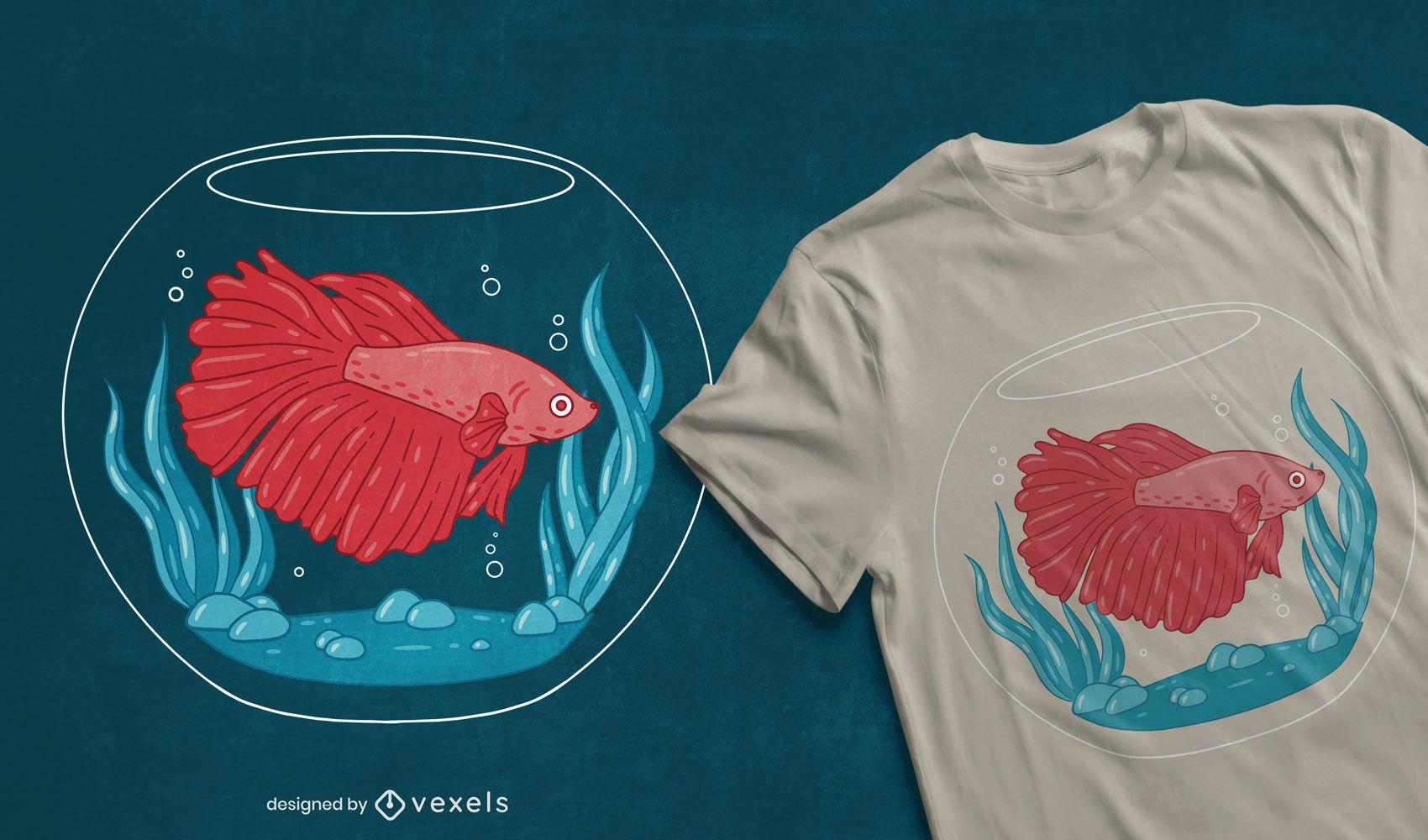 Diseño de camiseta de pescado en pecera.