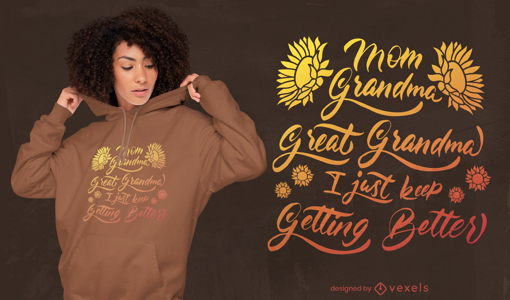 Diseño de camiseta de cita divertida de la familia de la abuela