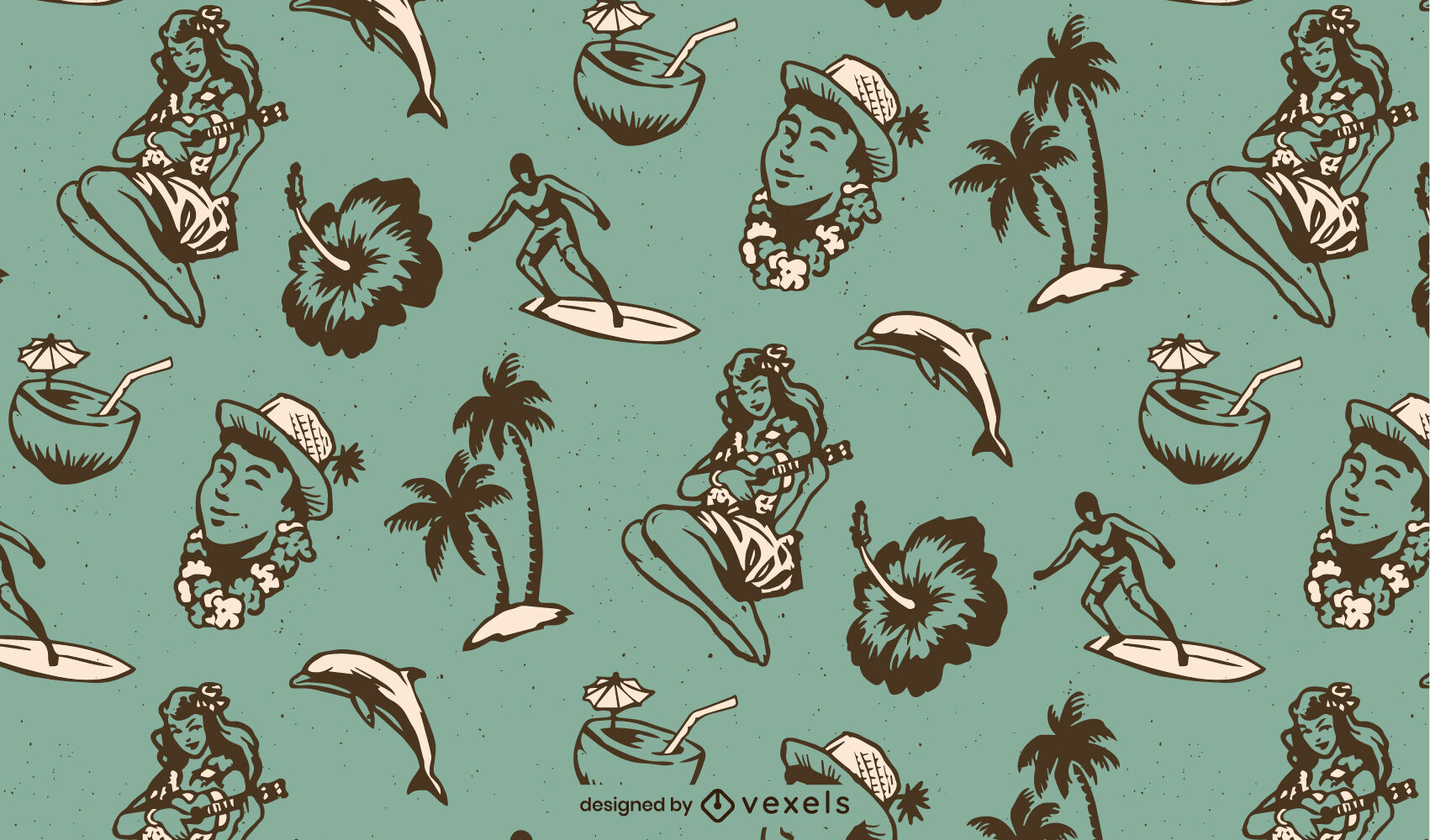 Padrão de elementos havaianos vintage