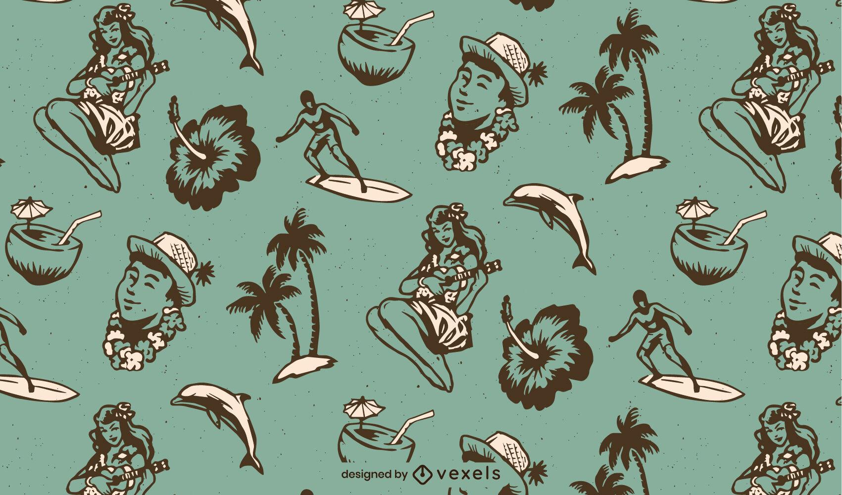 Patrón de elementos hawaianos vintage