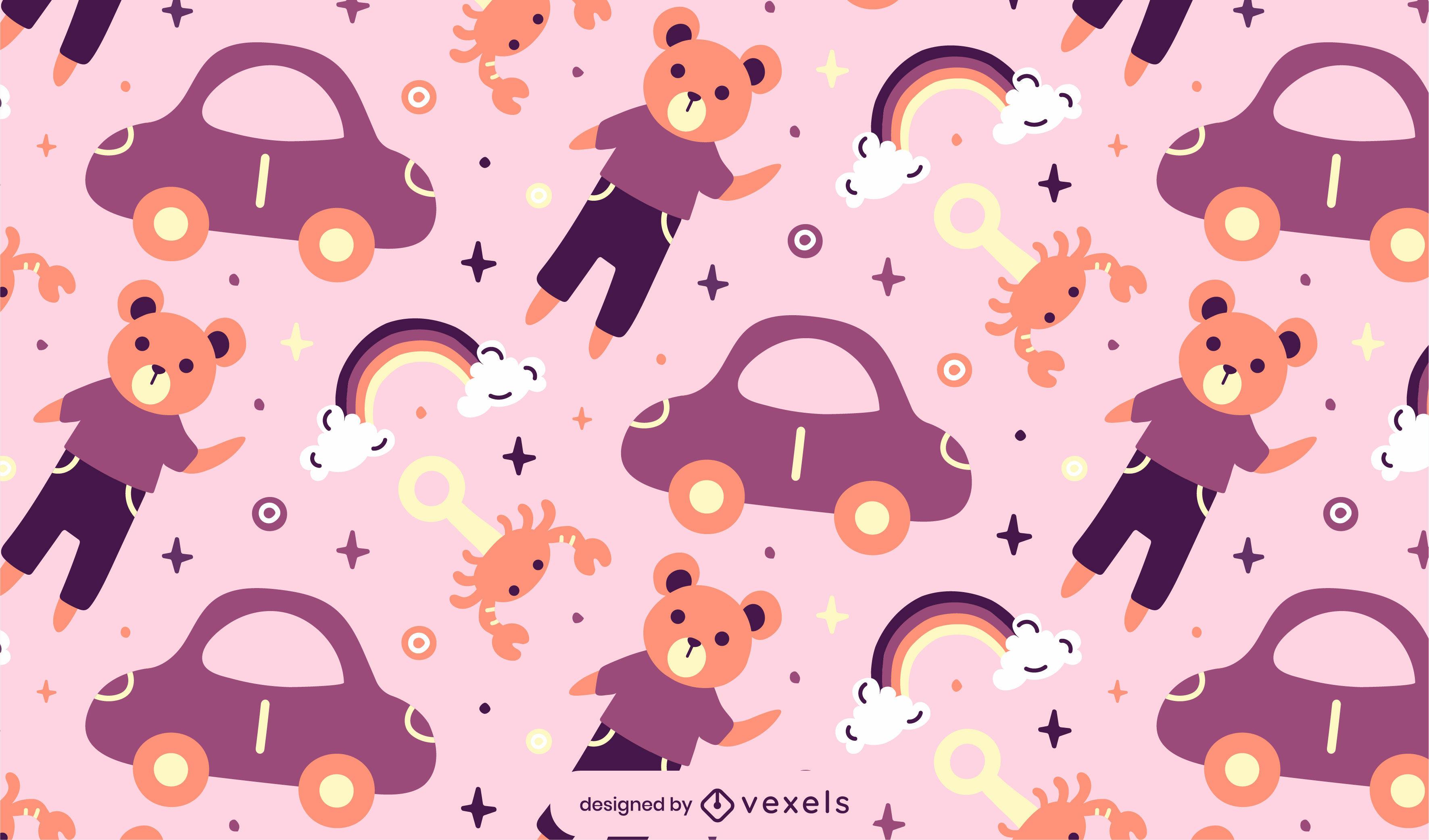 Kid toys flat pattern design