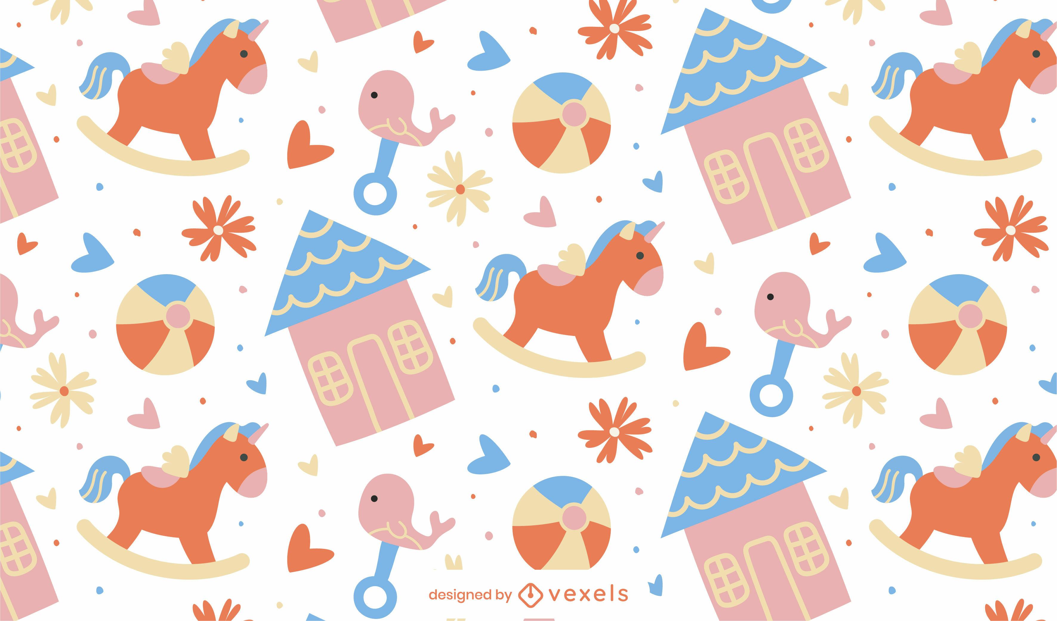 Diseño de patrón de juguetes planos para bebés