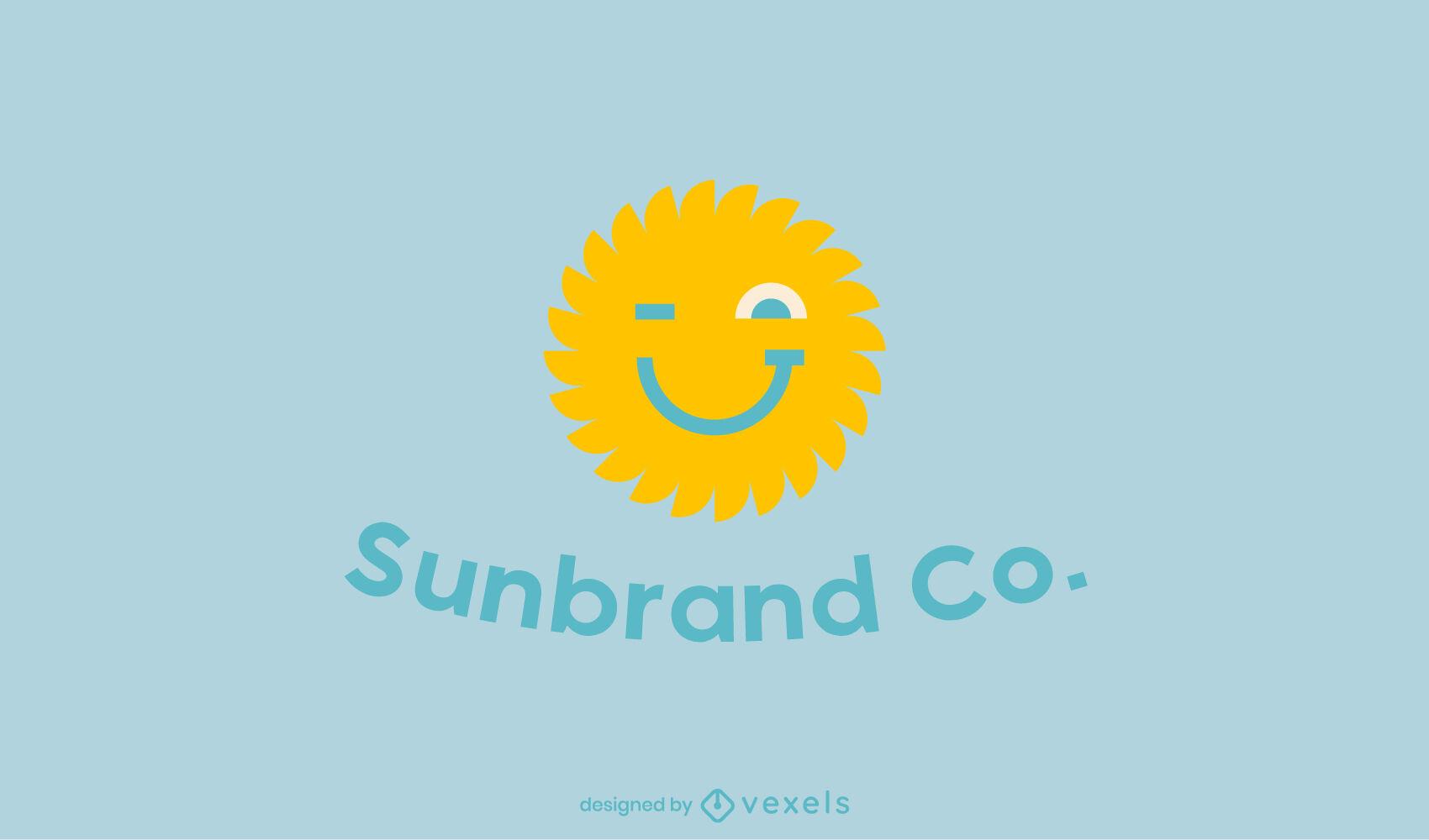 Modelo de logotipo plano de sol sorridente