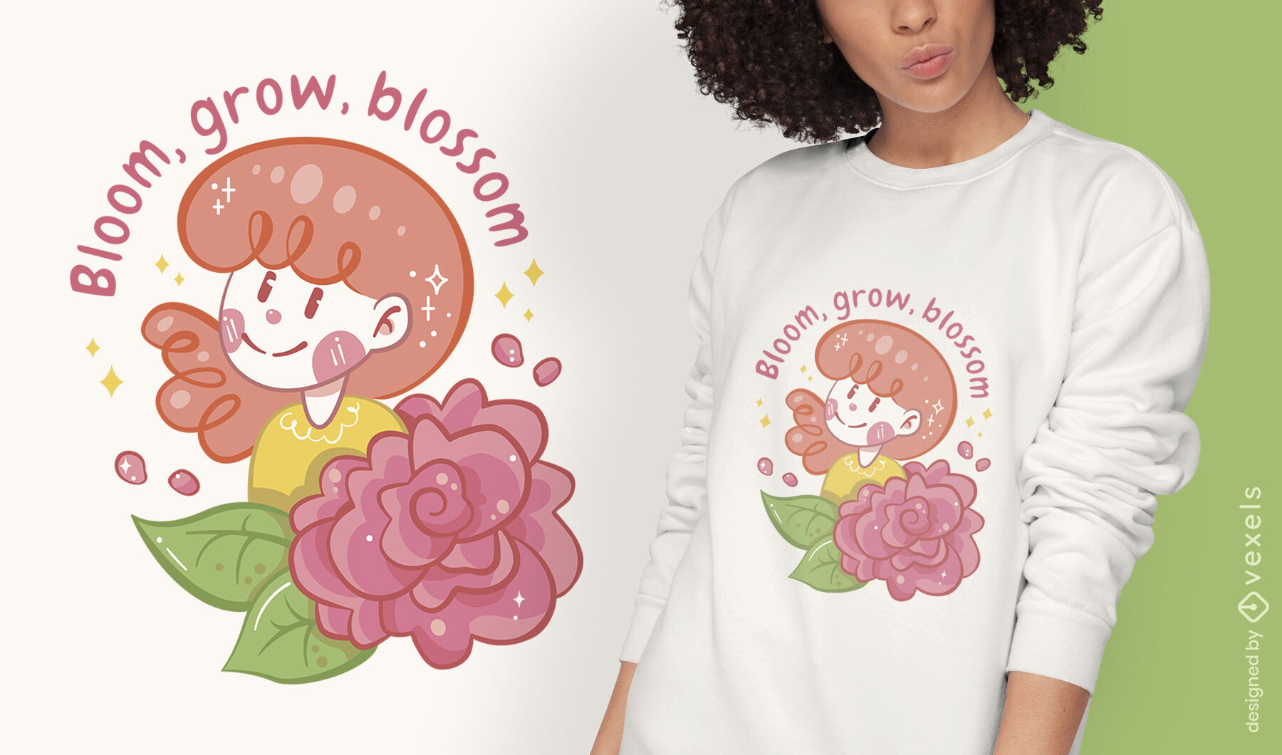 Dise?o de camiseta floreciente de ni?a de las flores