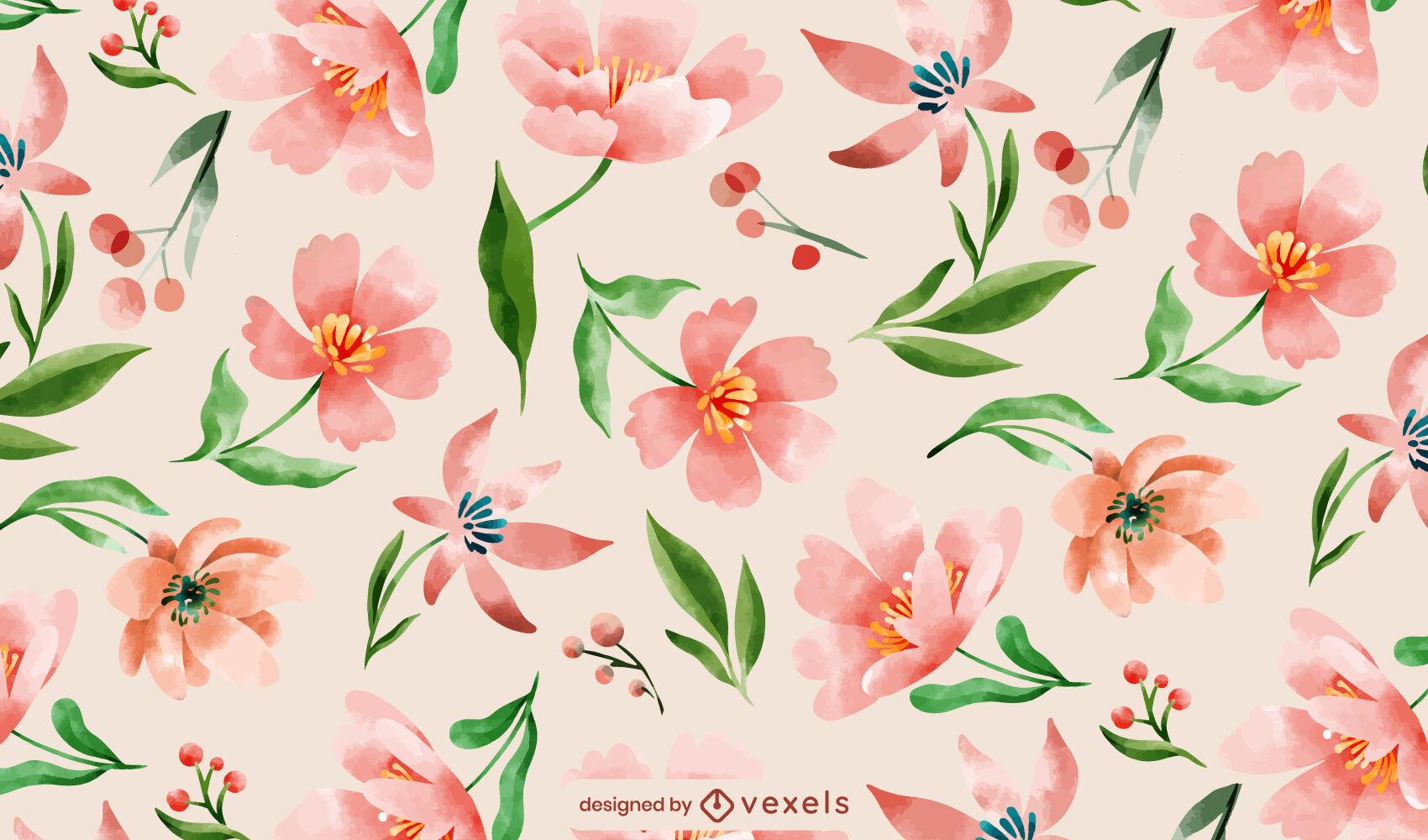 Diseño de patrón de flores de color rosa acuarela