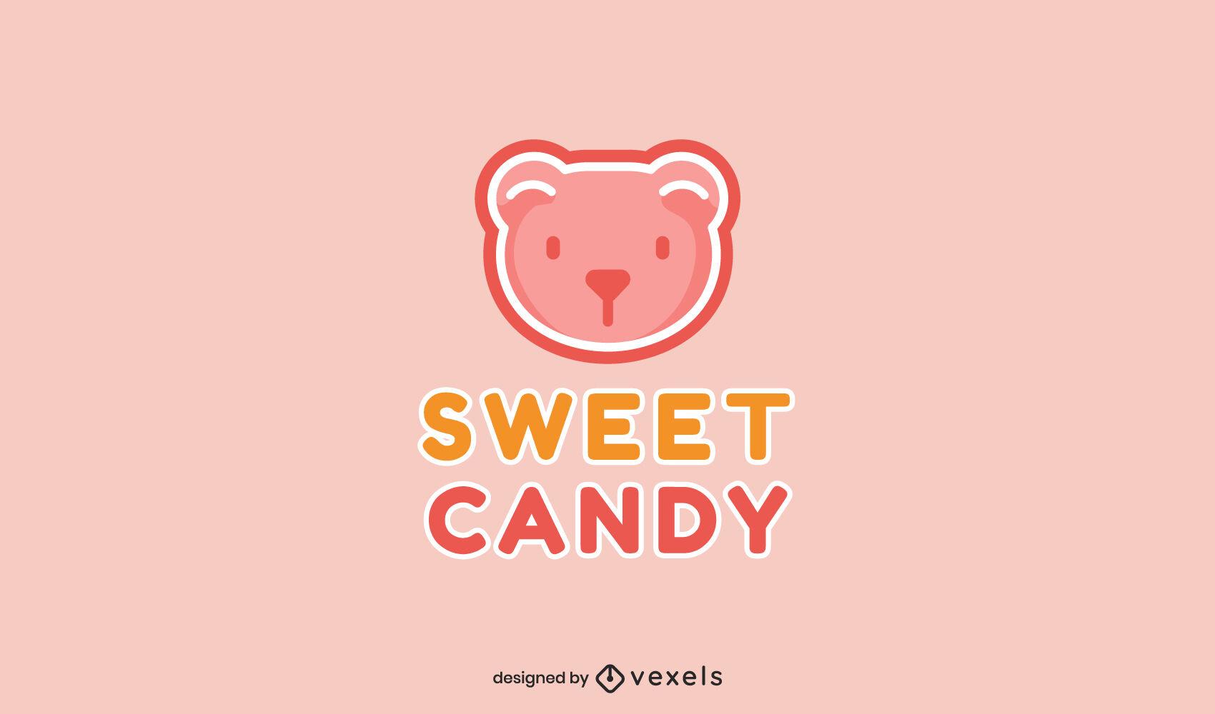 Plantilla de logotipo de caramelo de oso gomoso