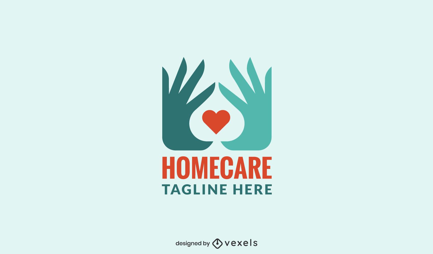 Manos de atención domiciliaria y plantilla de logotipo de corazón