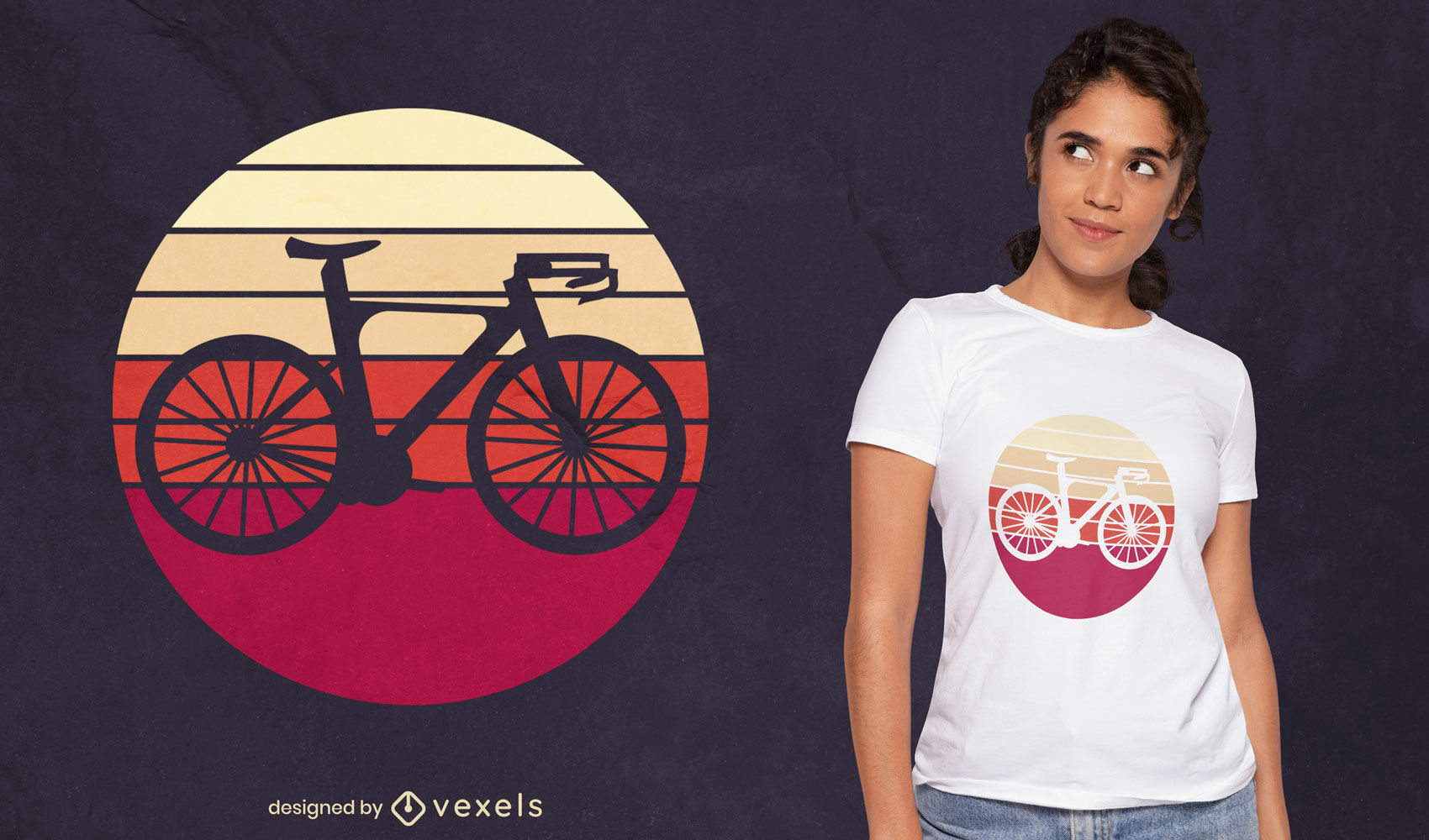 Bike silhouette retro t-shirt design