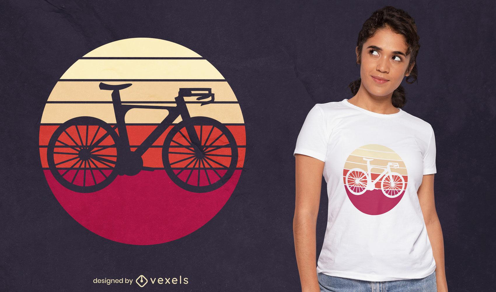 Desenho de t-shirt retro da silhueta da bicicleta