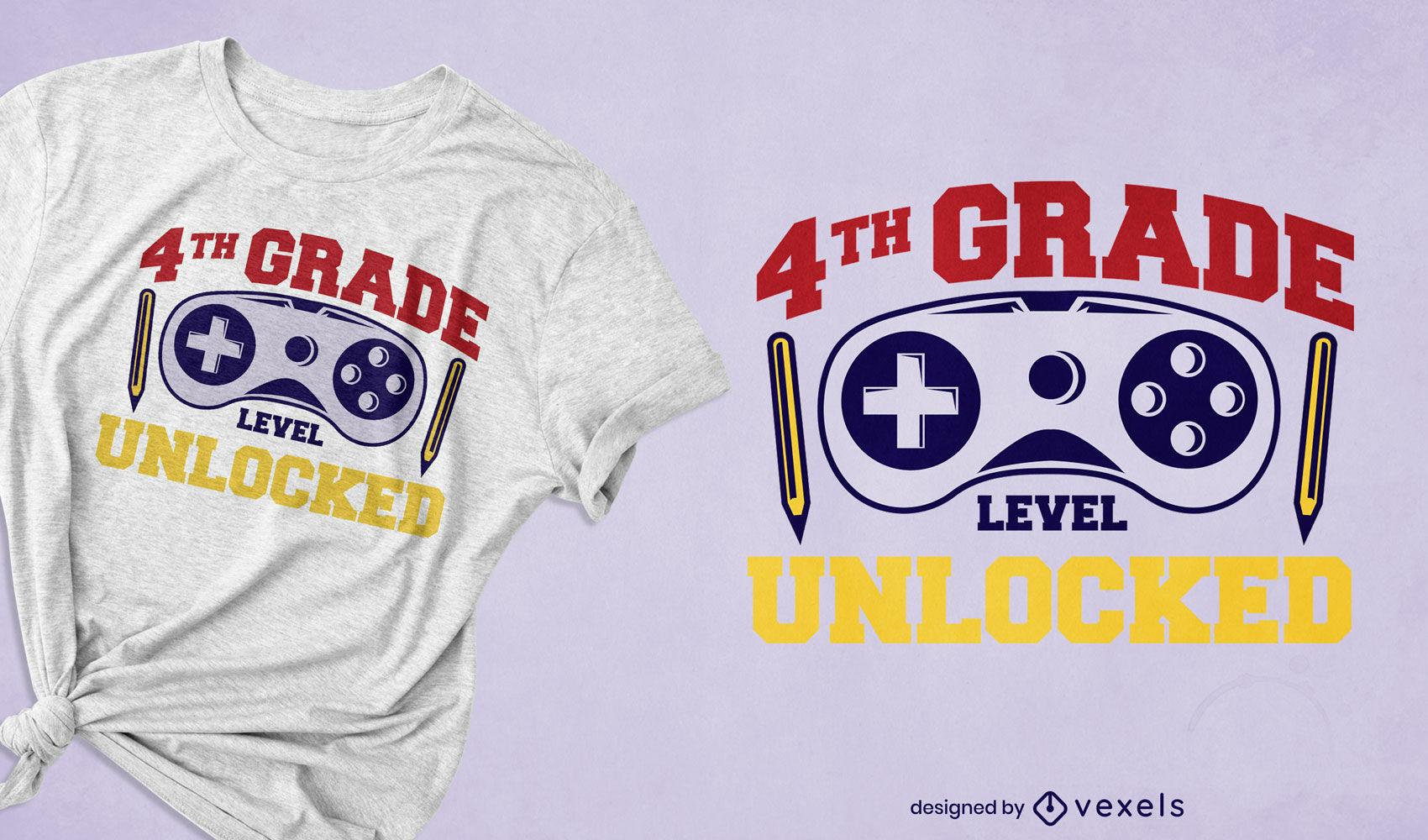 Diseño de camiseta de educación de cuarto grado.