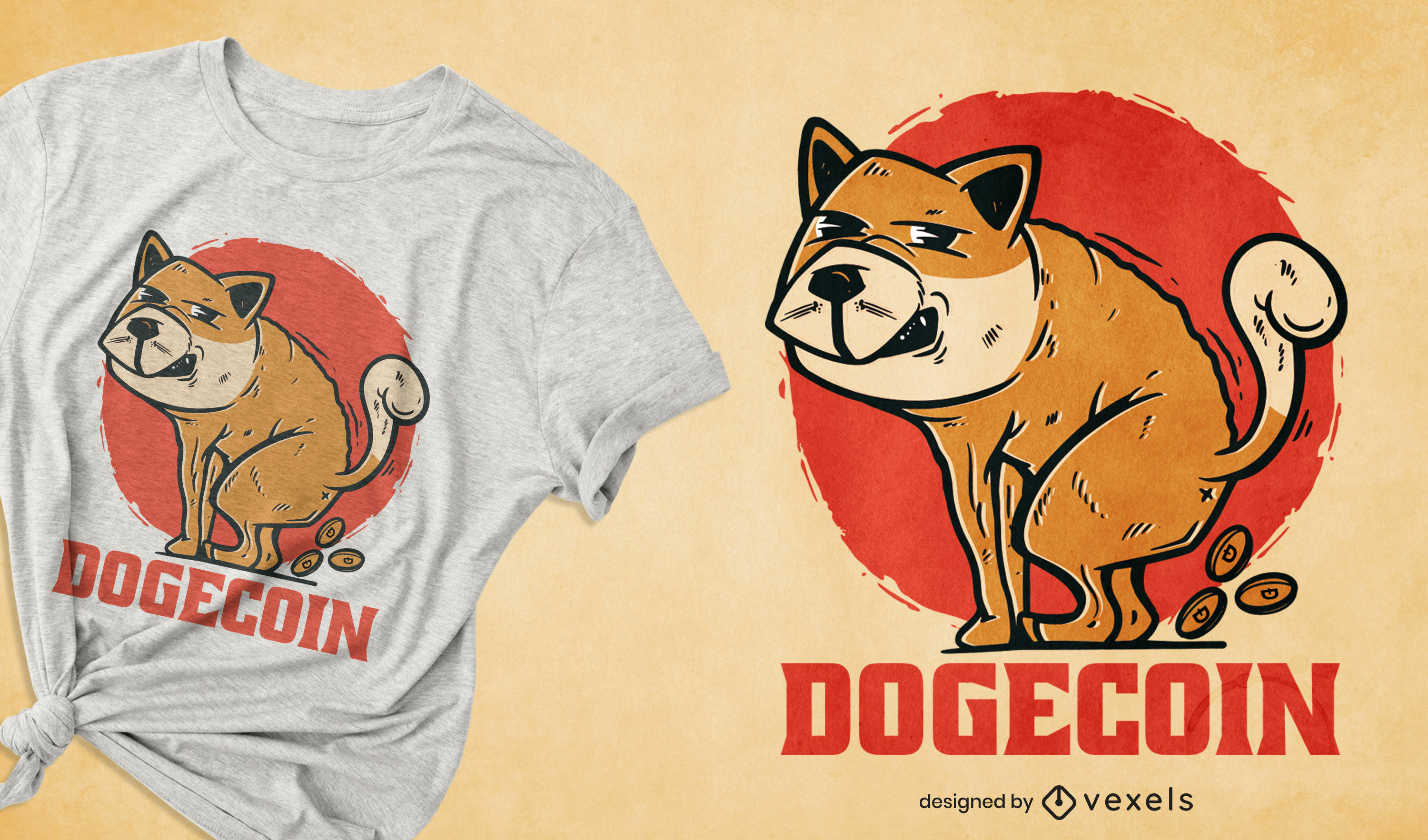 Dog pooping cryptocurrency t-shirt design