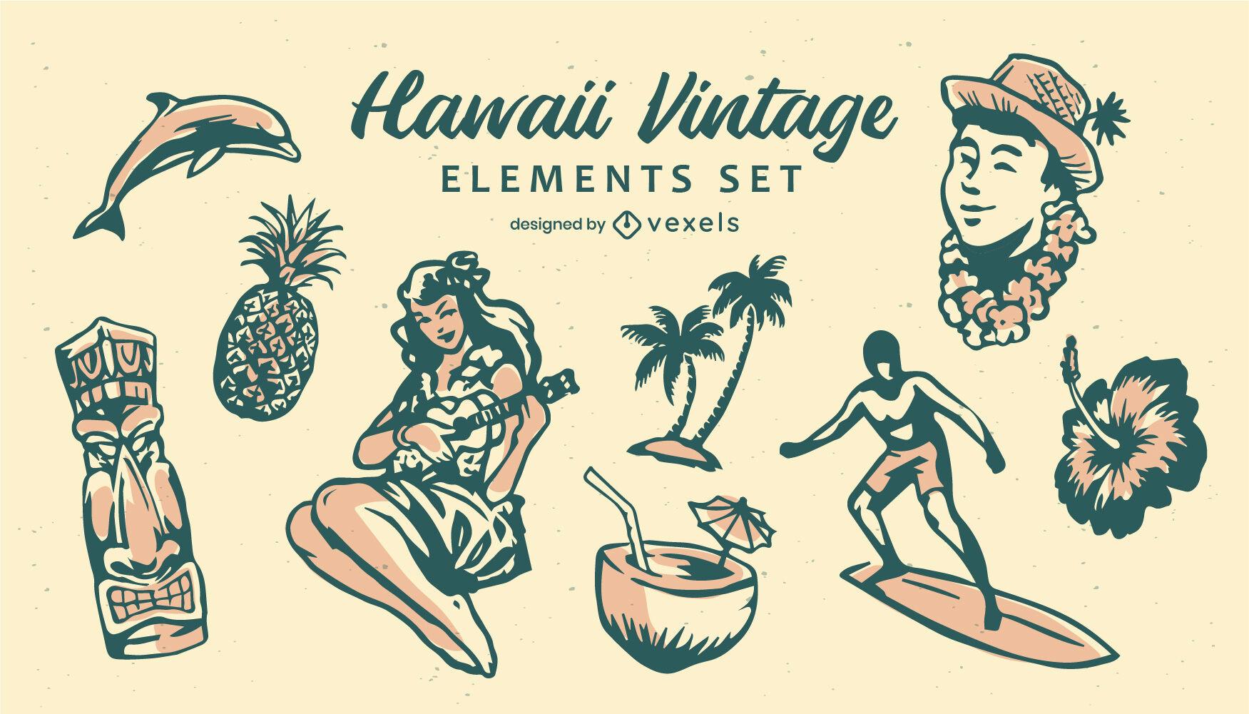 Conjunto de elementos vintage do Havaí