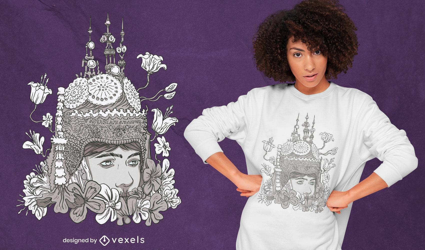 Diseño de camiseta de cultura espiritual hindú apsara.