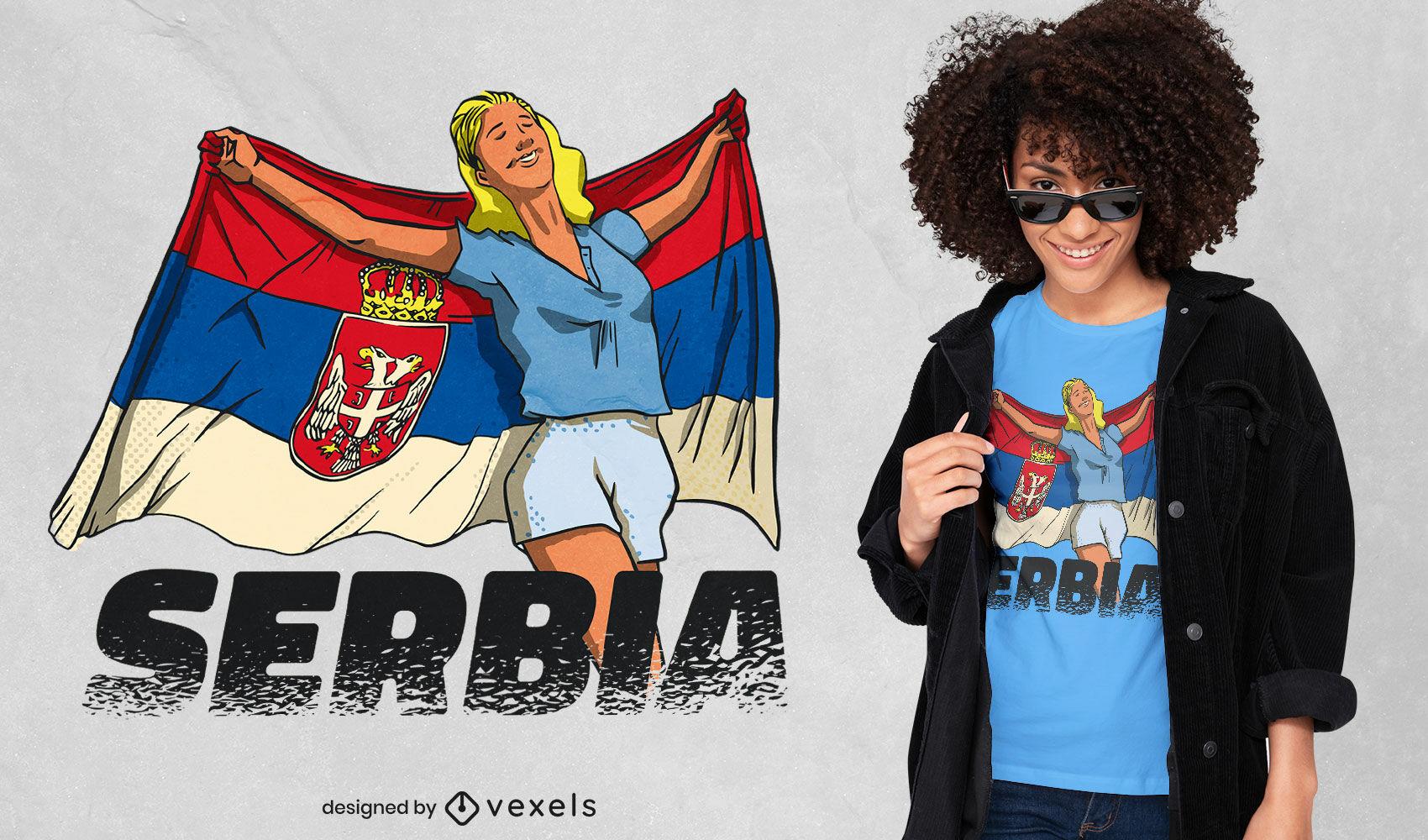 Chica sosteniendo diseño de camiseta de bandera serbia
