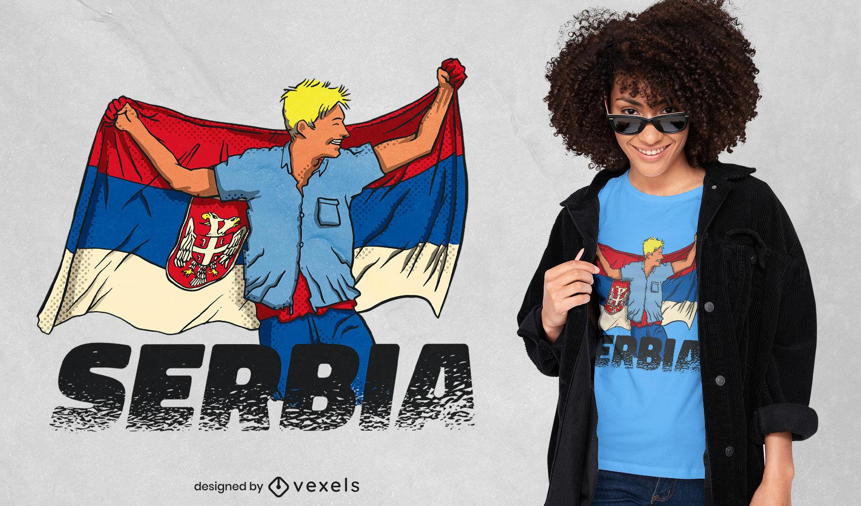 Menino segurando o desenho da camiseta da bandeira da Sérvia