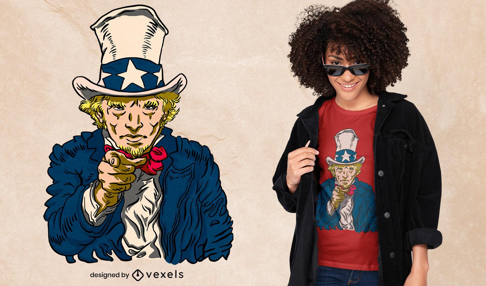 Diseño de camiseta de personaje americano del tío sam
