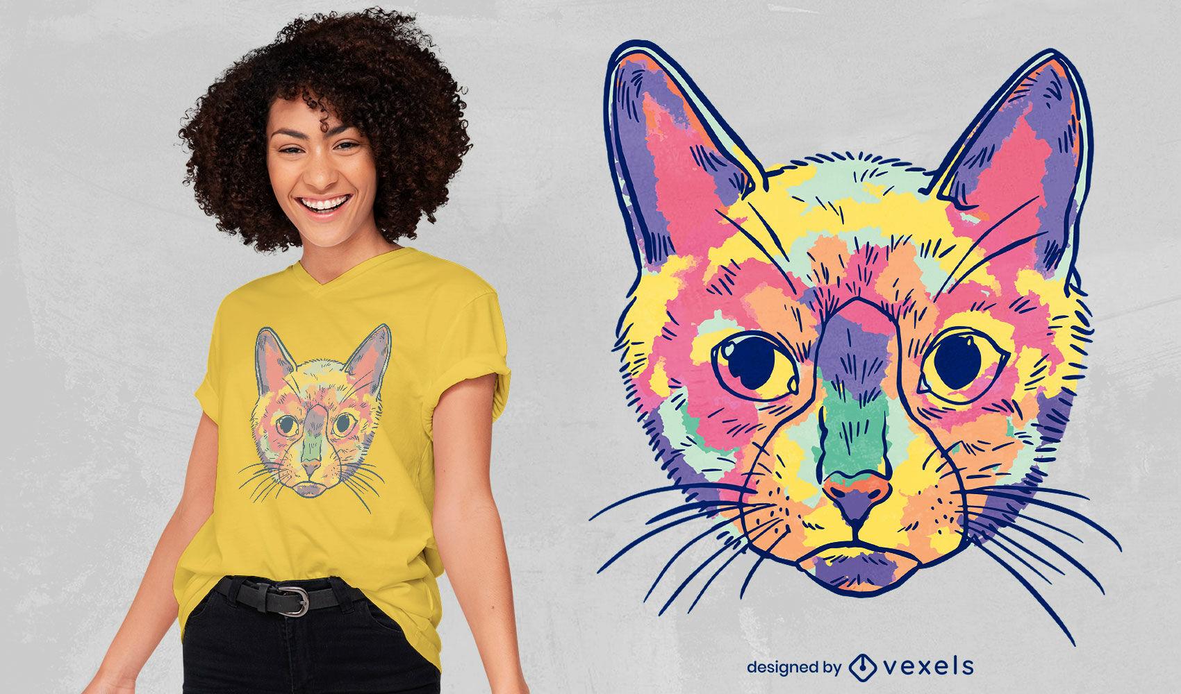 Watercolor colorful cat t-shirt design