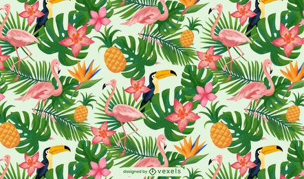Patrón de acuarela tropical de palmeras y pájaros