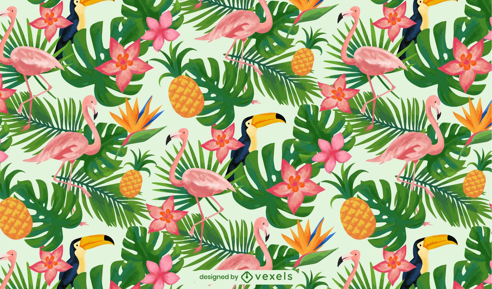 Padrão de aquarela tropical com palmeiras e pássaros