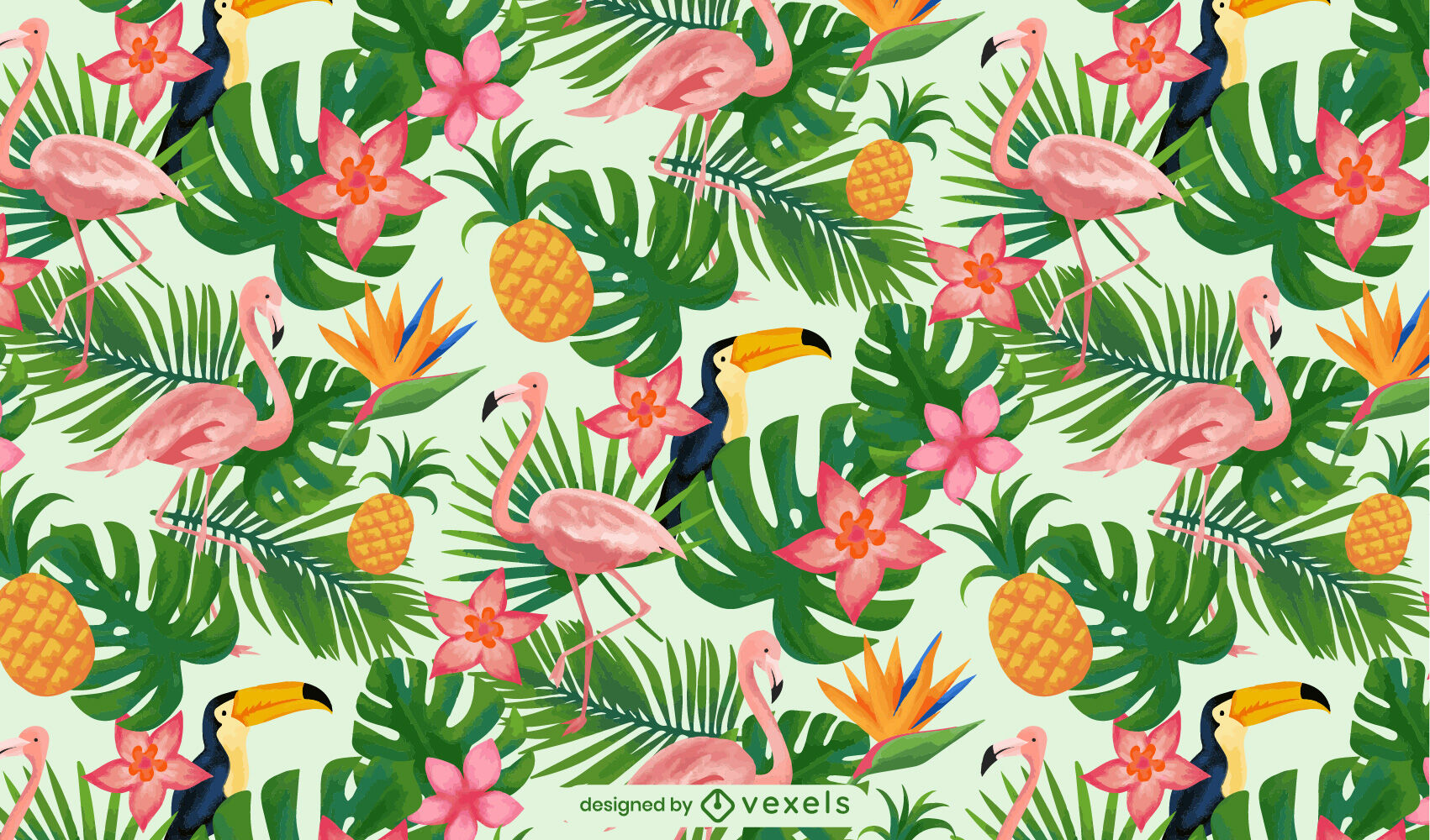 Palms and birds tropical watercolor pattern